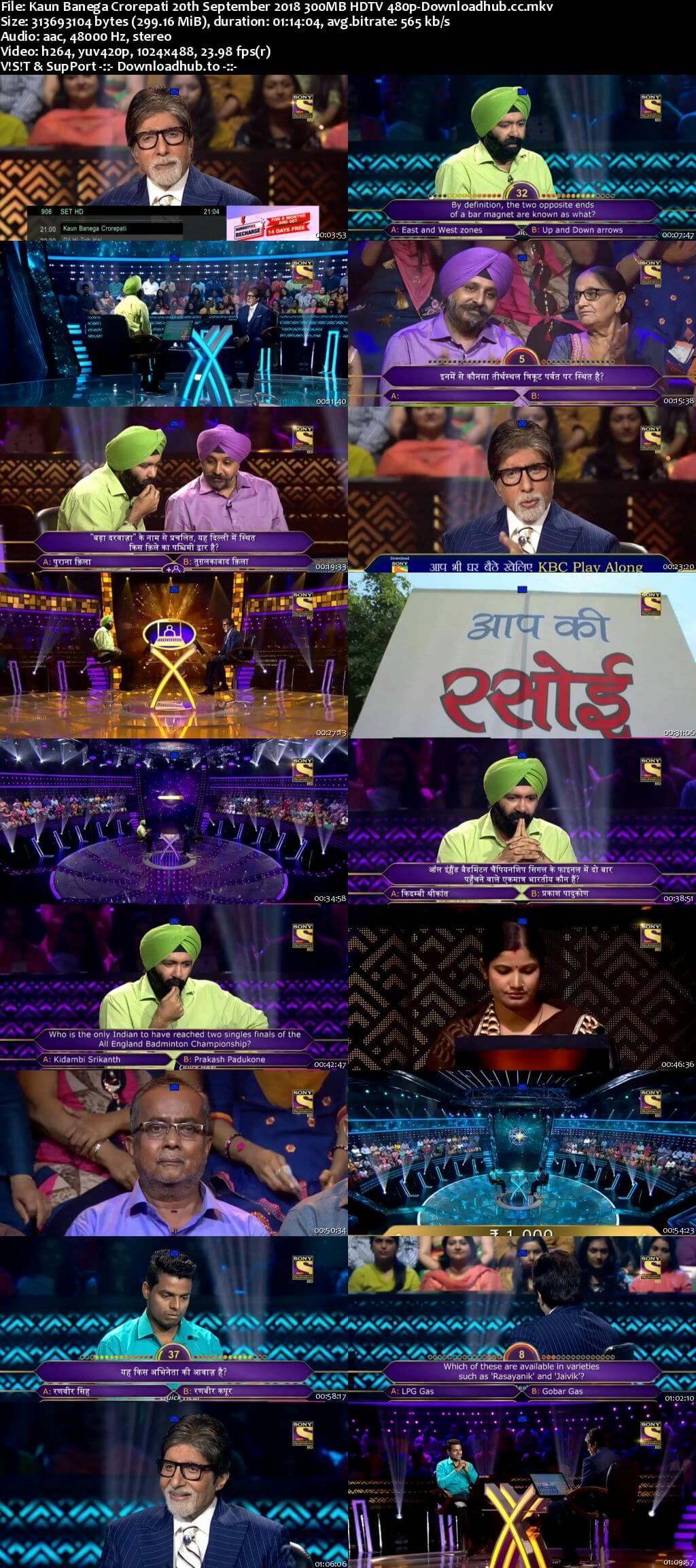 Kaun Banega Crorepati 20th September 2018 300MB HDTV 480p