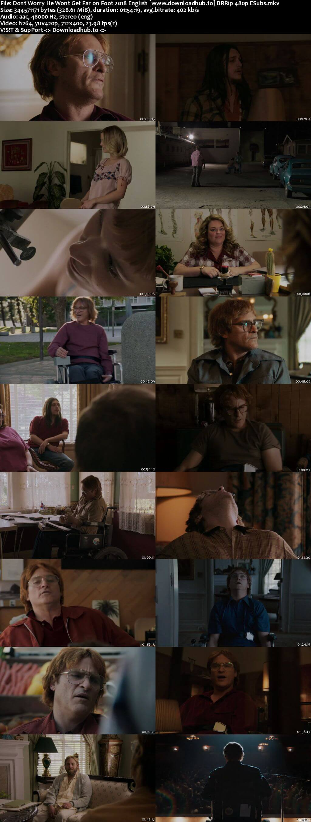 Dont Worry He Wont Get Far on Foot 2018 English 300MB BRRip 480p ESubs