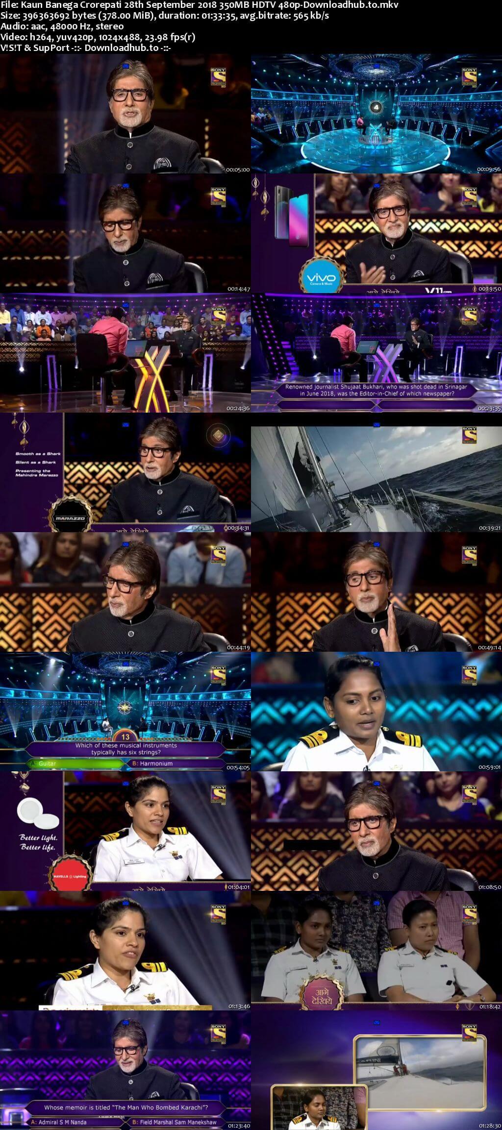 Kaun Banega Crorepati 28th September 2018 350MB HDTV 480p