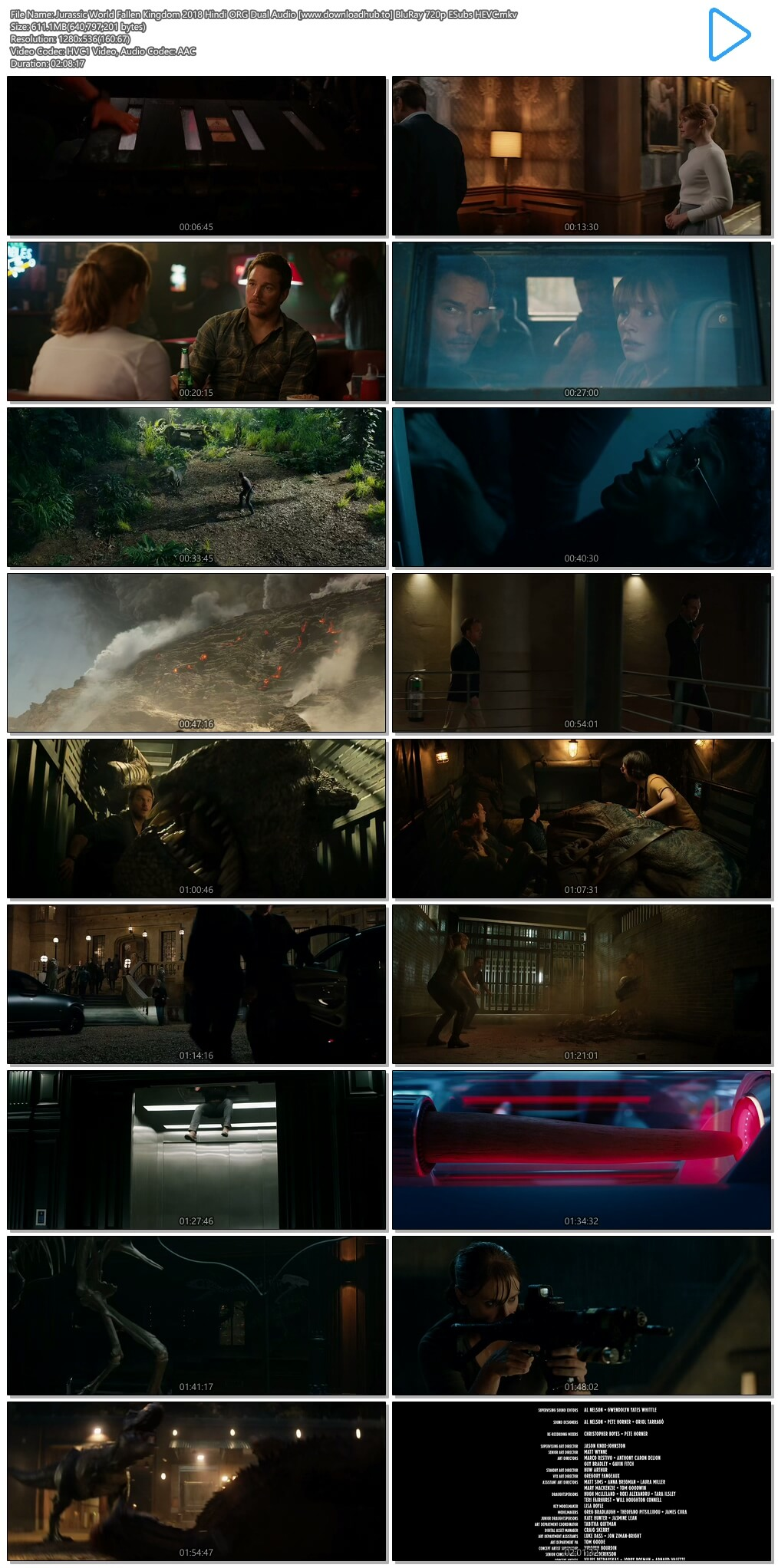 Jurassic World Fallen Kingdom 2018 Hindi ORG Dual Audio 600MB BluRay 720p ESubs HEVC