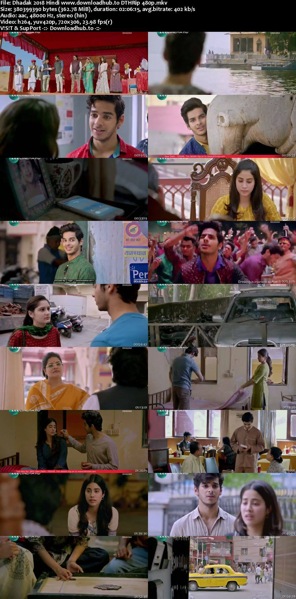 Dhadak 2018 Hindi 350MB DTHRip 480p