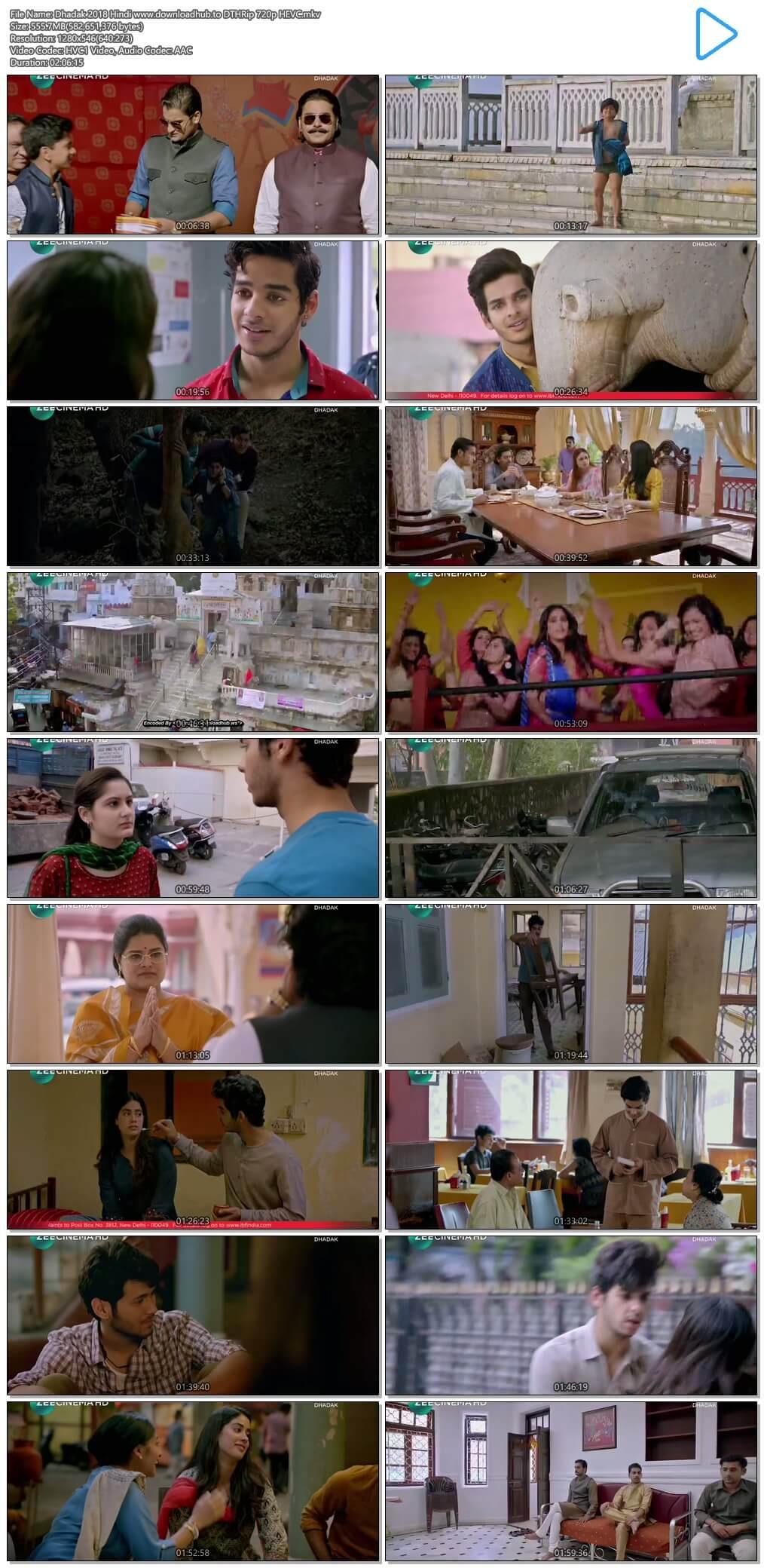 Dhadak 2018 Hindi 550MB DTHRip 720p HEVC