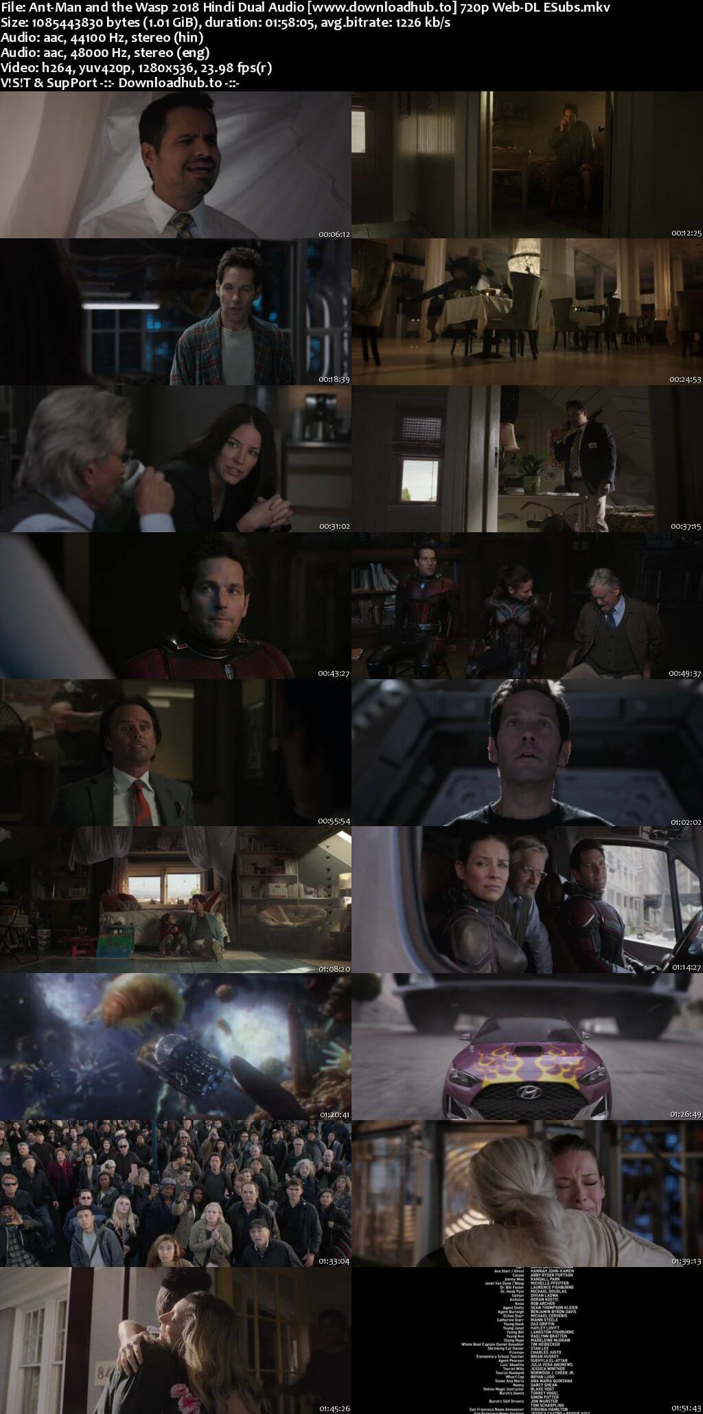 Ant-Man and the Wasp 2018 Hindi Dual Audio 720p Web-DL ESubs