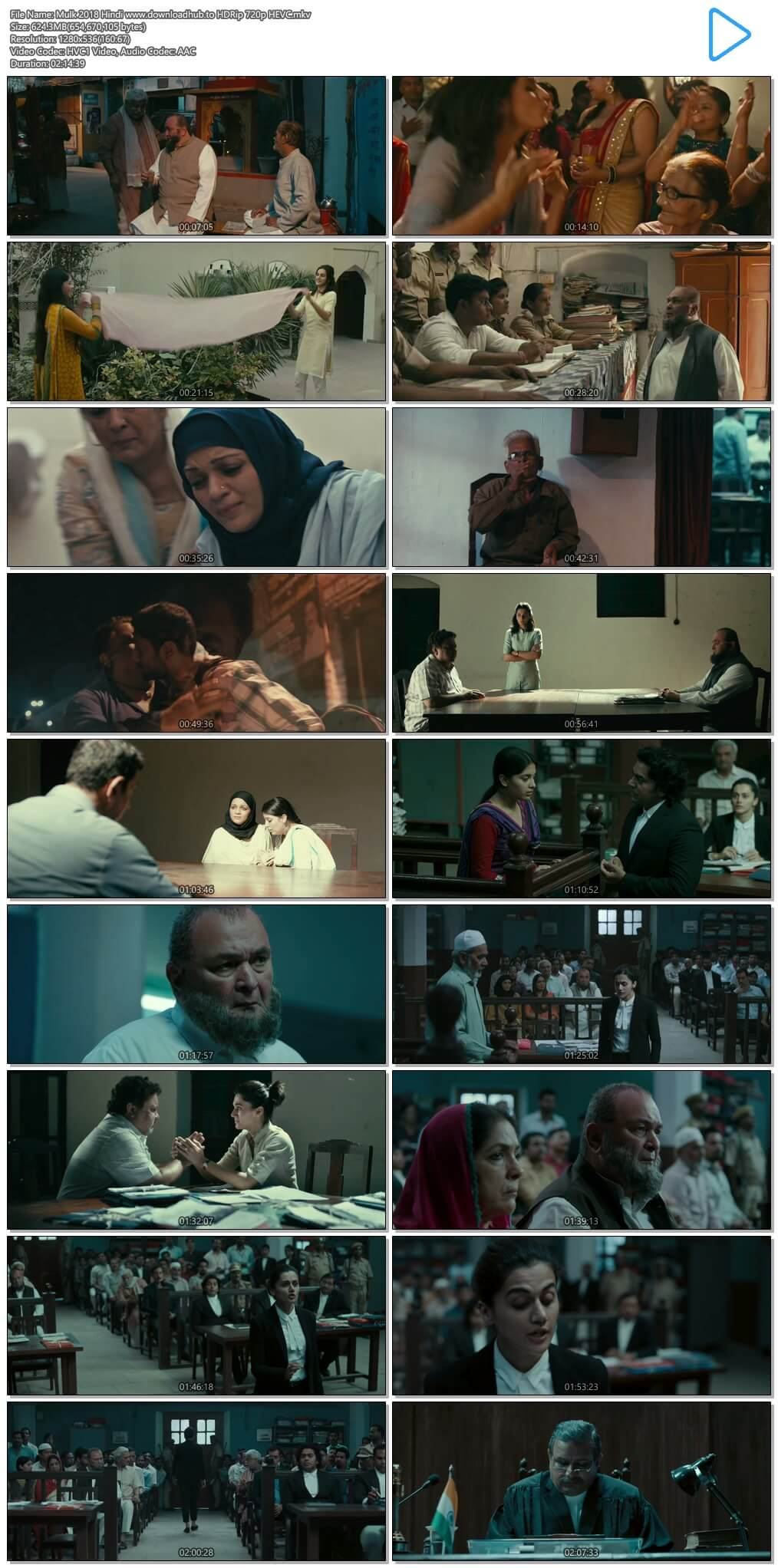 Mulk 2018 Hindi 600MB HDRip 720p HEVC