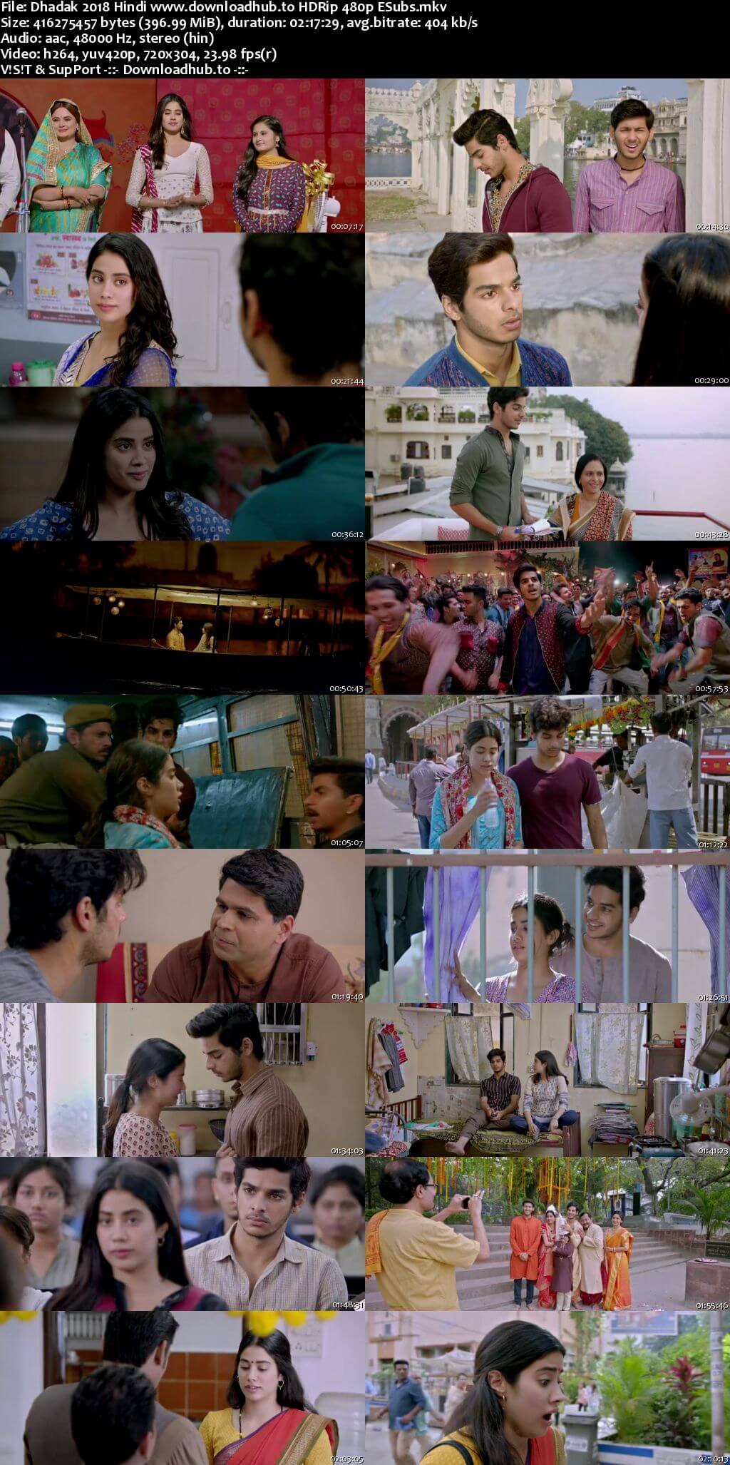 Dhadak 2018 Hindi 400MB HDRip 480p ESubs