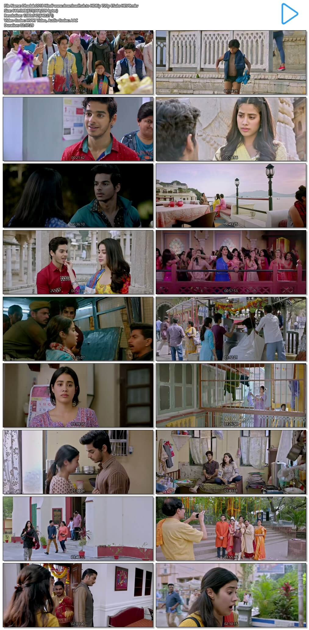 Dhadak 2018 Hindi 650MB HDRip 720p ESubs HEVC