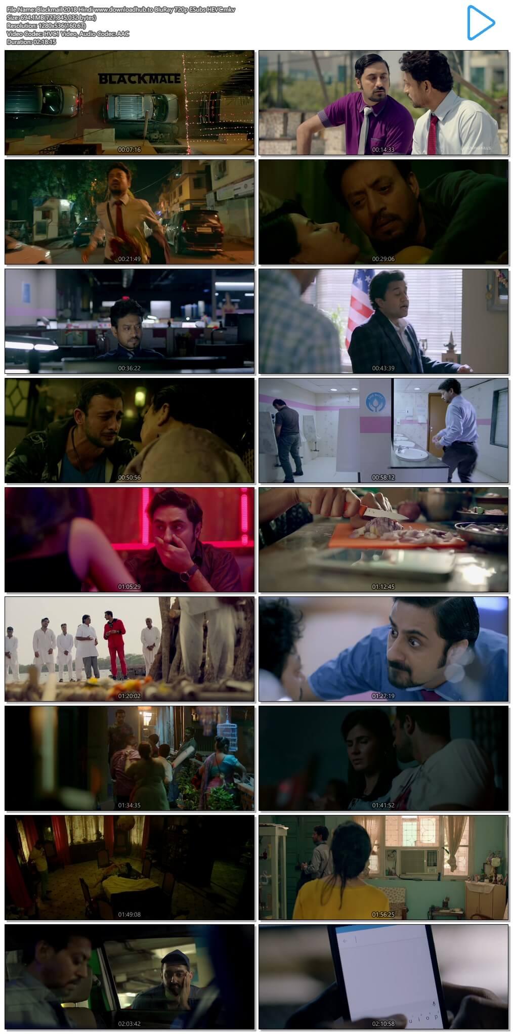 Blackmail 2018 Hindi 700MB BluRay 720p ESubs HEVC