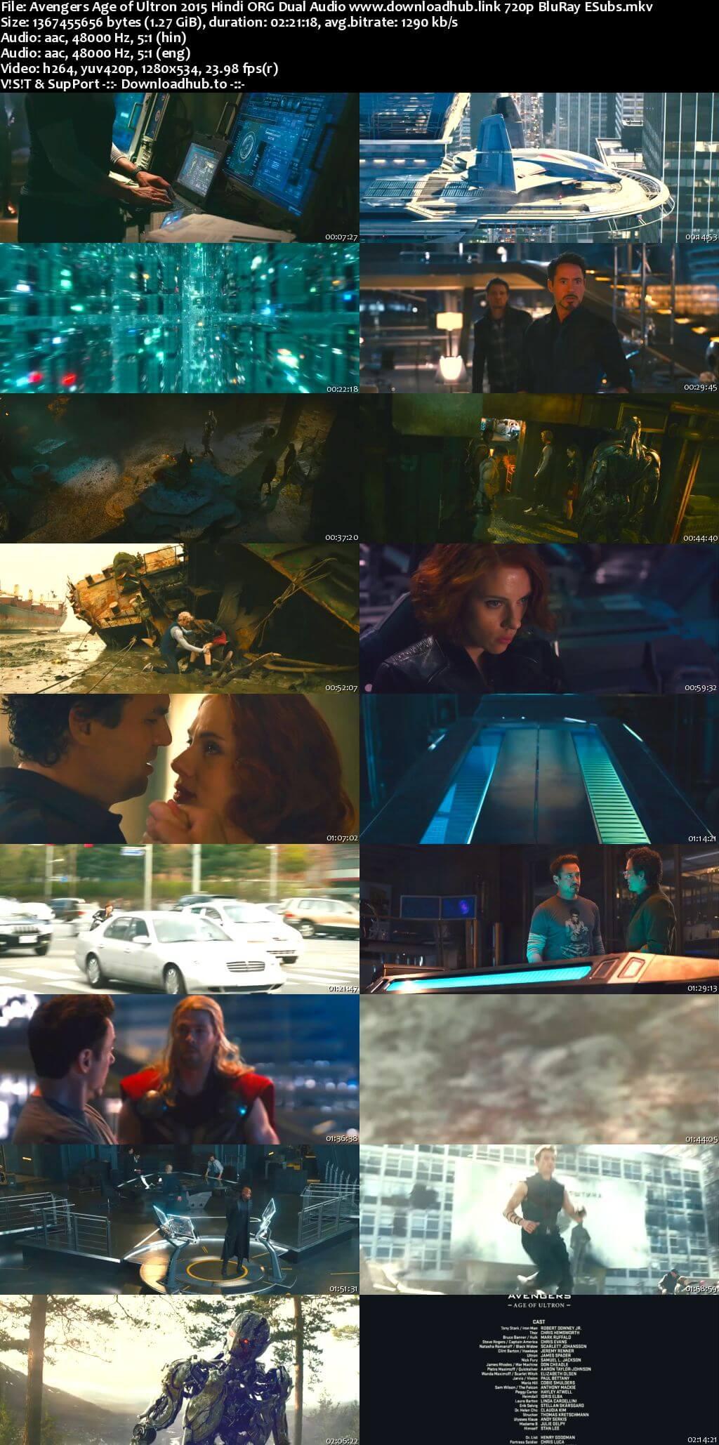 Avengers Age of Ultron 2015 Hindi ORG Dual Audio 720p BluRay ESubs