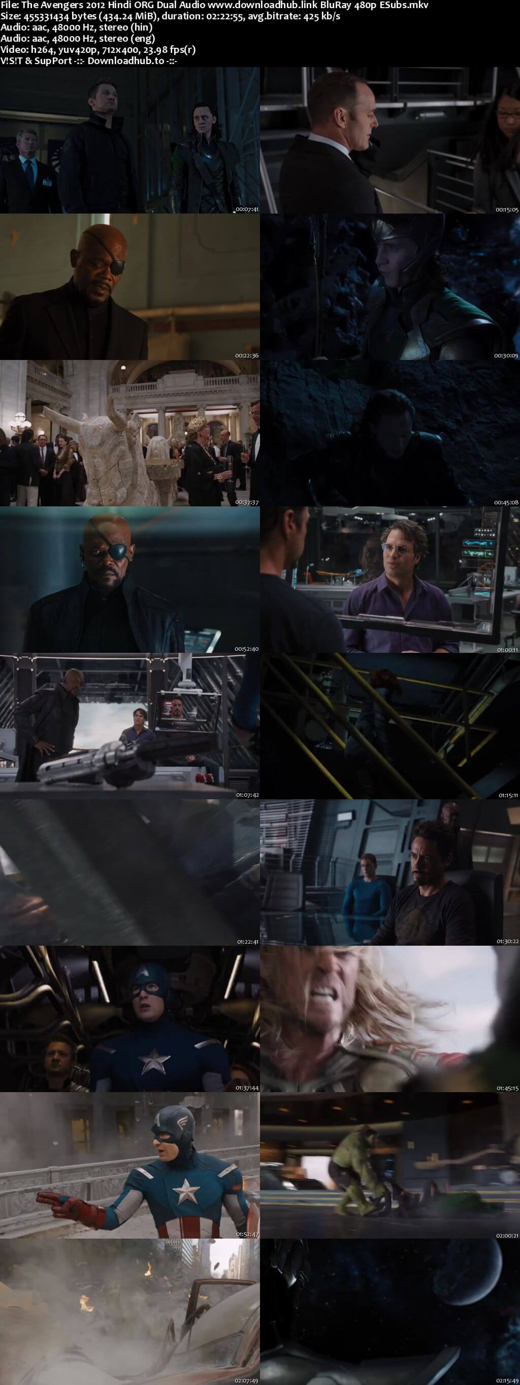The Avengers 2012 Hindi ORG Dual Audio 400MB BluRay 480p ESubs