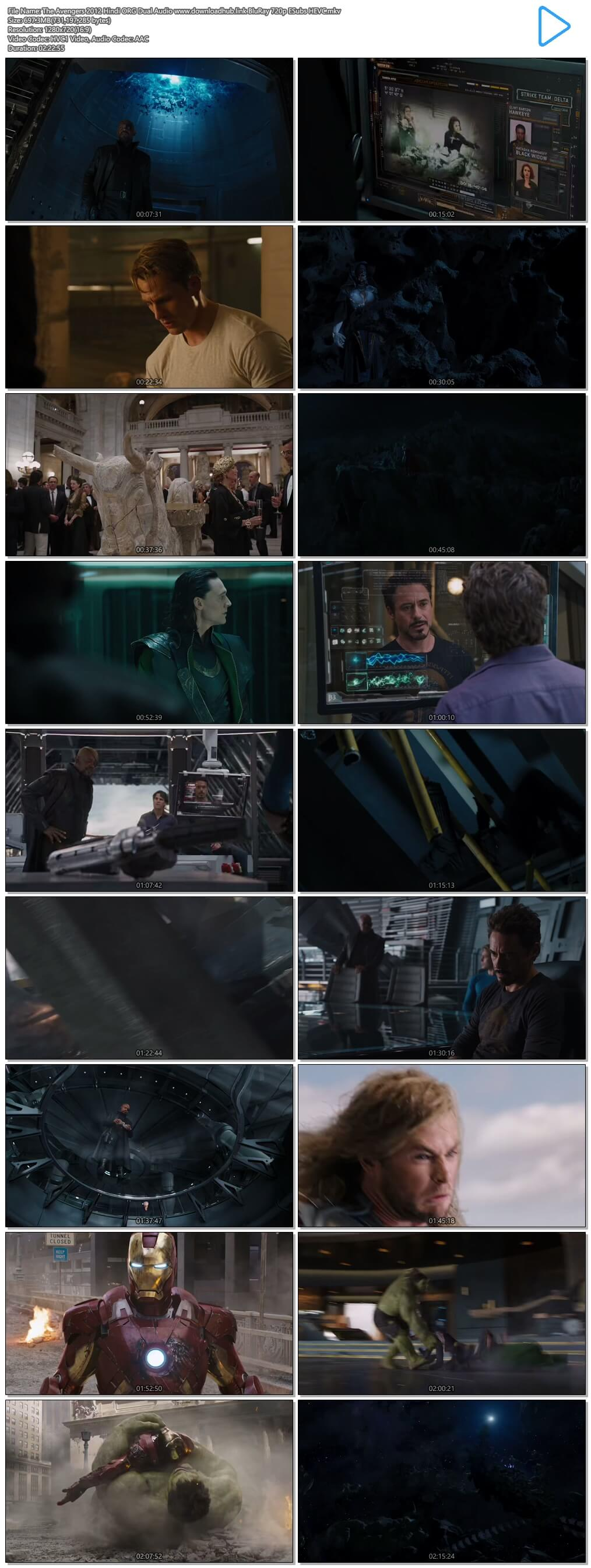 The Avengers 2012 Hindi ORG Dual Audio 700MB BluRay 720p ESubs HEVC