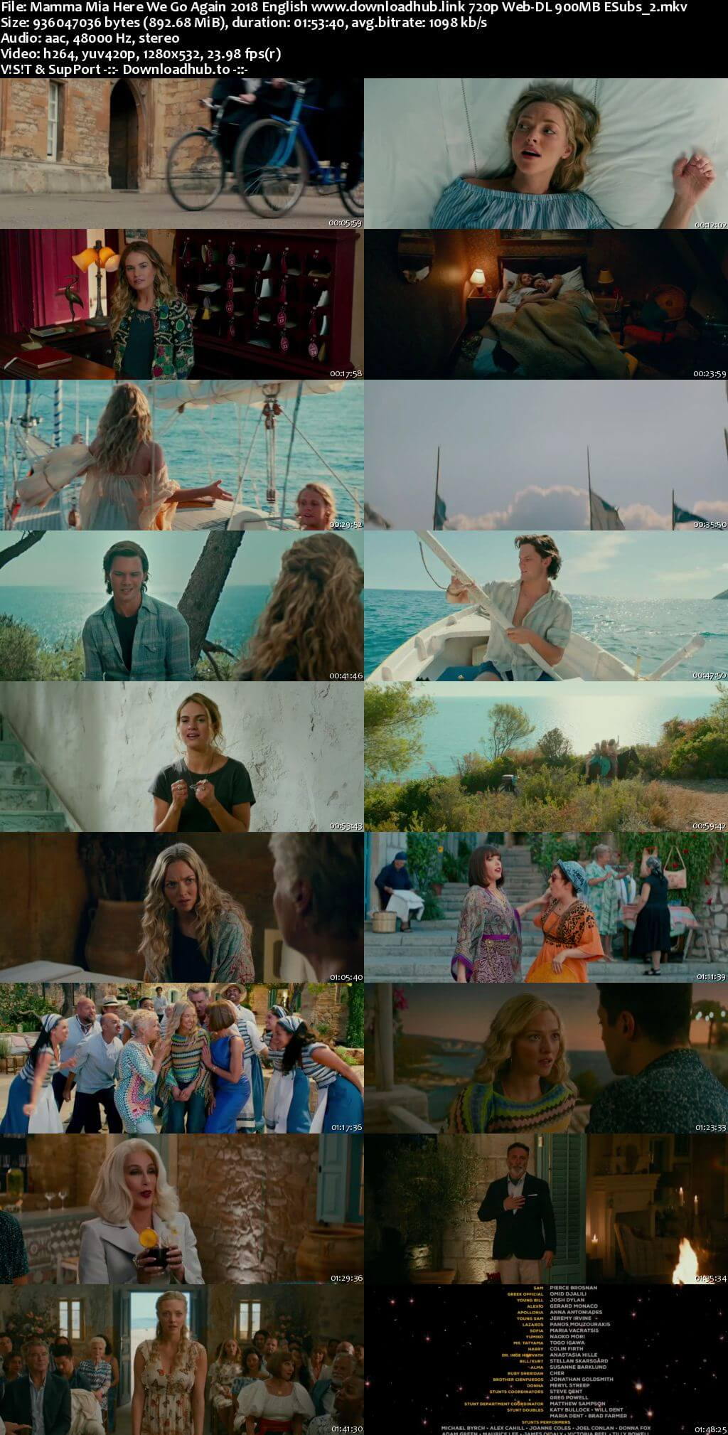 Mamma Mia Here We Go Again 2018 English 720p Web-DL 900MB ESubs
