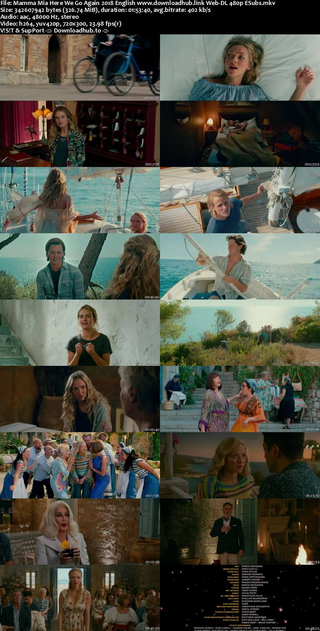 Mamma Mia Here We Go Again 2018 English 300MB Web-DL 480p ESubs