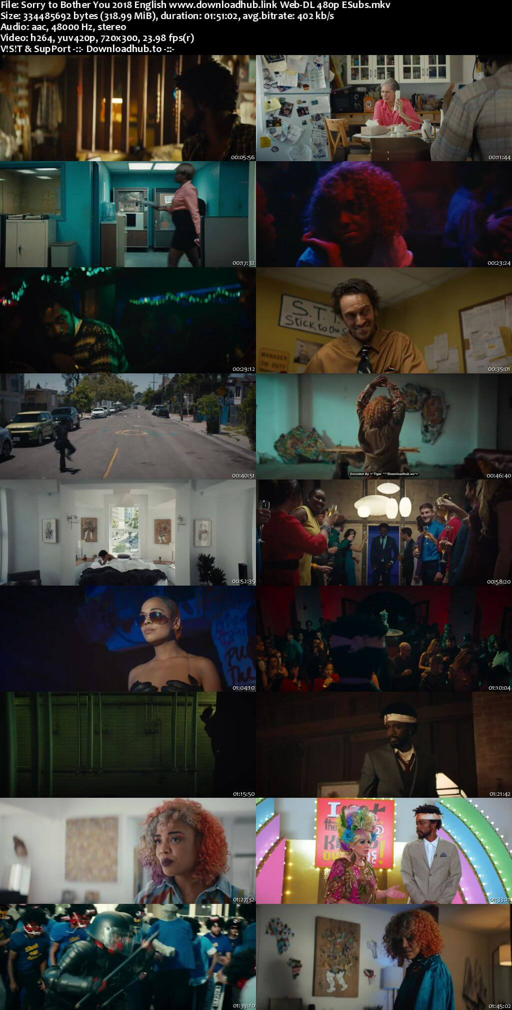 Sorry to Bother You 2018 English 300MB Web-DL 480p ESubs
