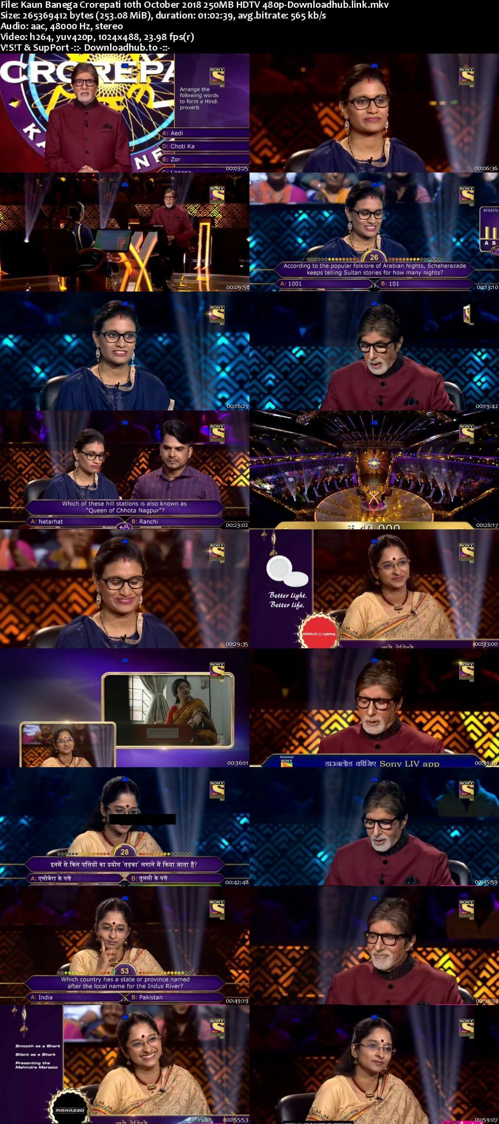 Kaun Banega Crorepati 10th October 2018 250MB HDTV 480p