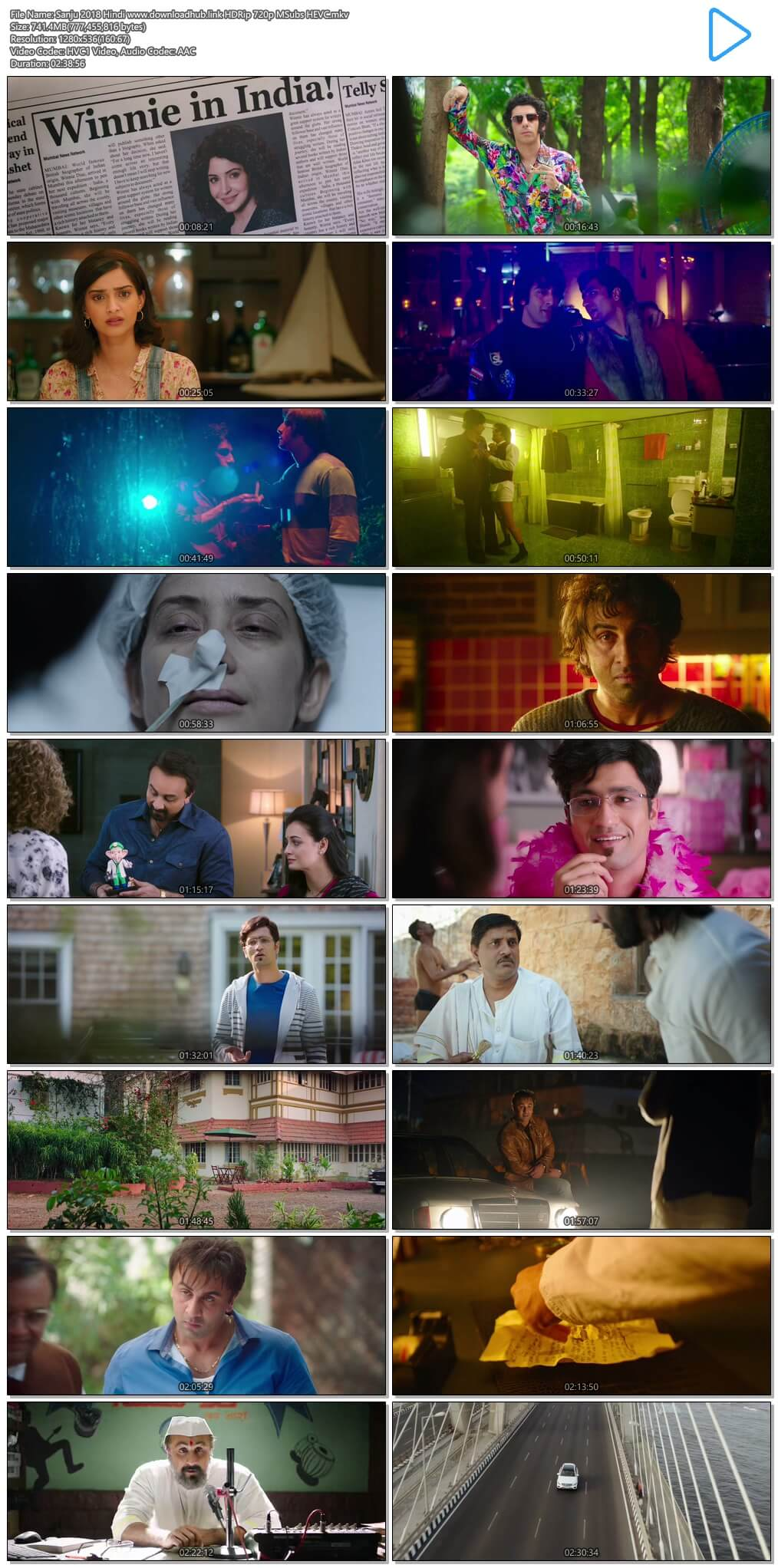 Sanju 2018 Hindi 700MB HDRip 720p MSubs HEVC