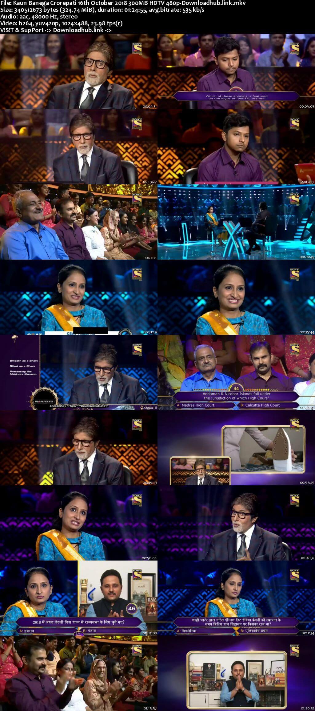 Kaun Banega Crorepati 16th October 2018 300MB HDTV 480p