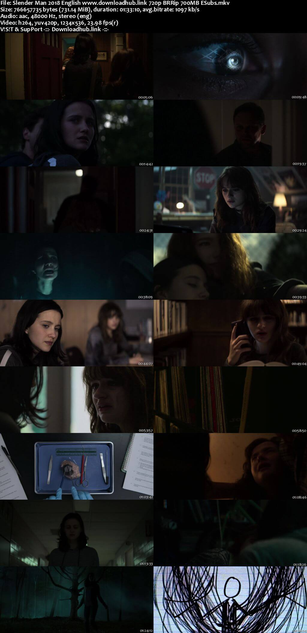 Slender Man 2018 English 720p BRRip 700MB ESubs