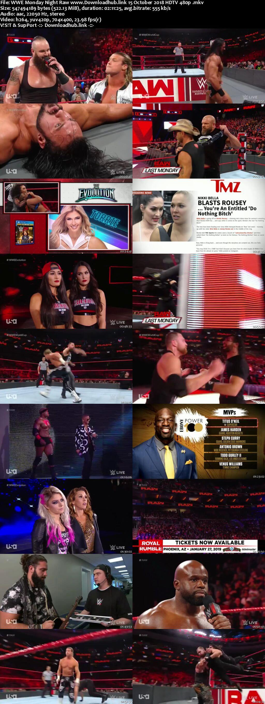 WWE Monday Night Raw 15th October 2018 500MB HDTVRip 480p