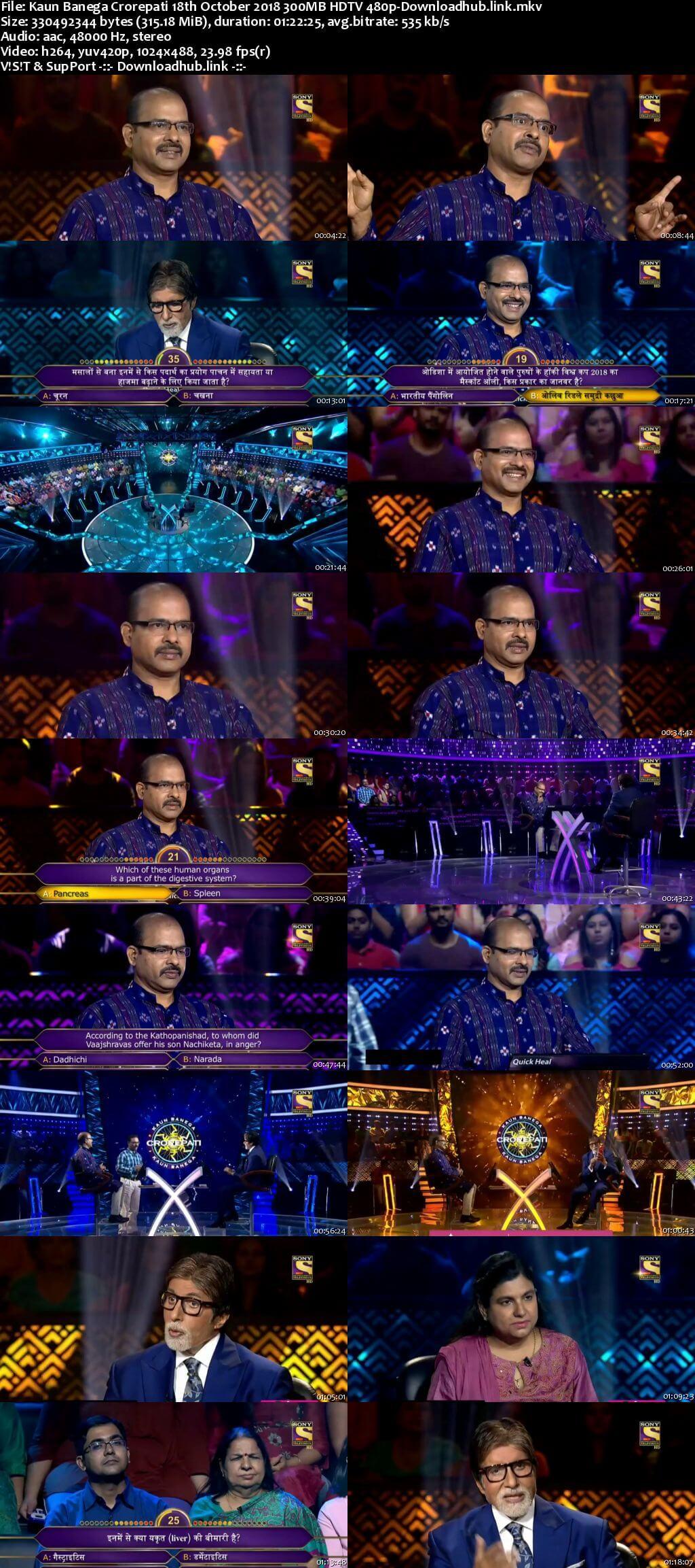 Kaun Banega Crorepati 18th October 2018 300MB HDTV 480p