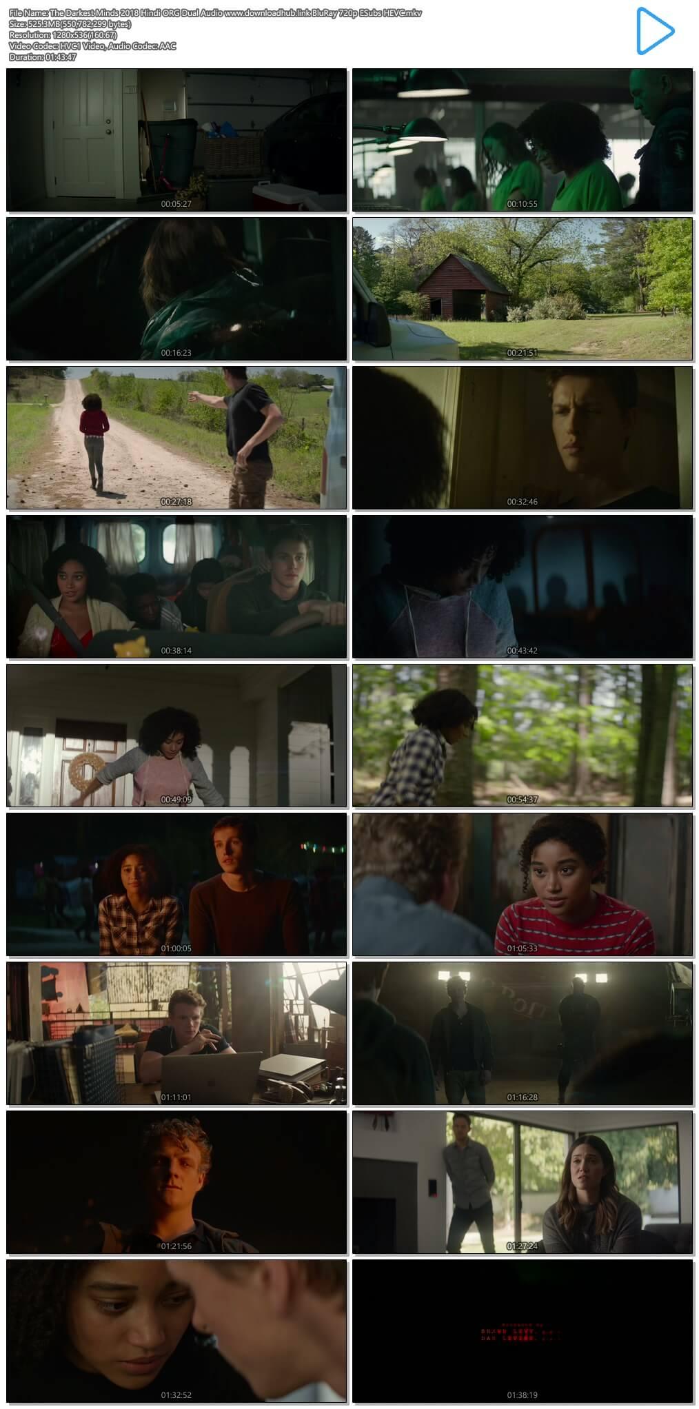 The Darkest Minds 2018 Hindi ORG Dual Audio 500MB BluRay 720p ESubs HEVC