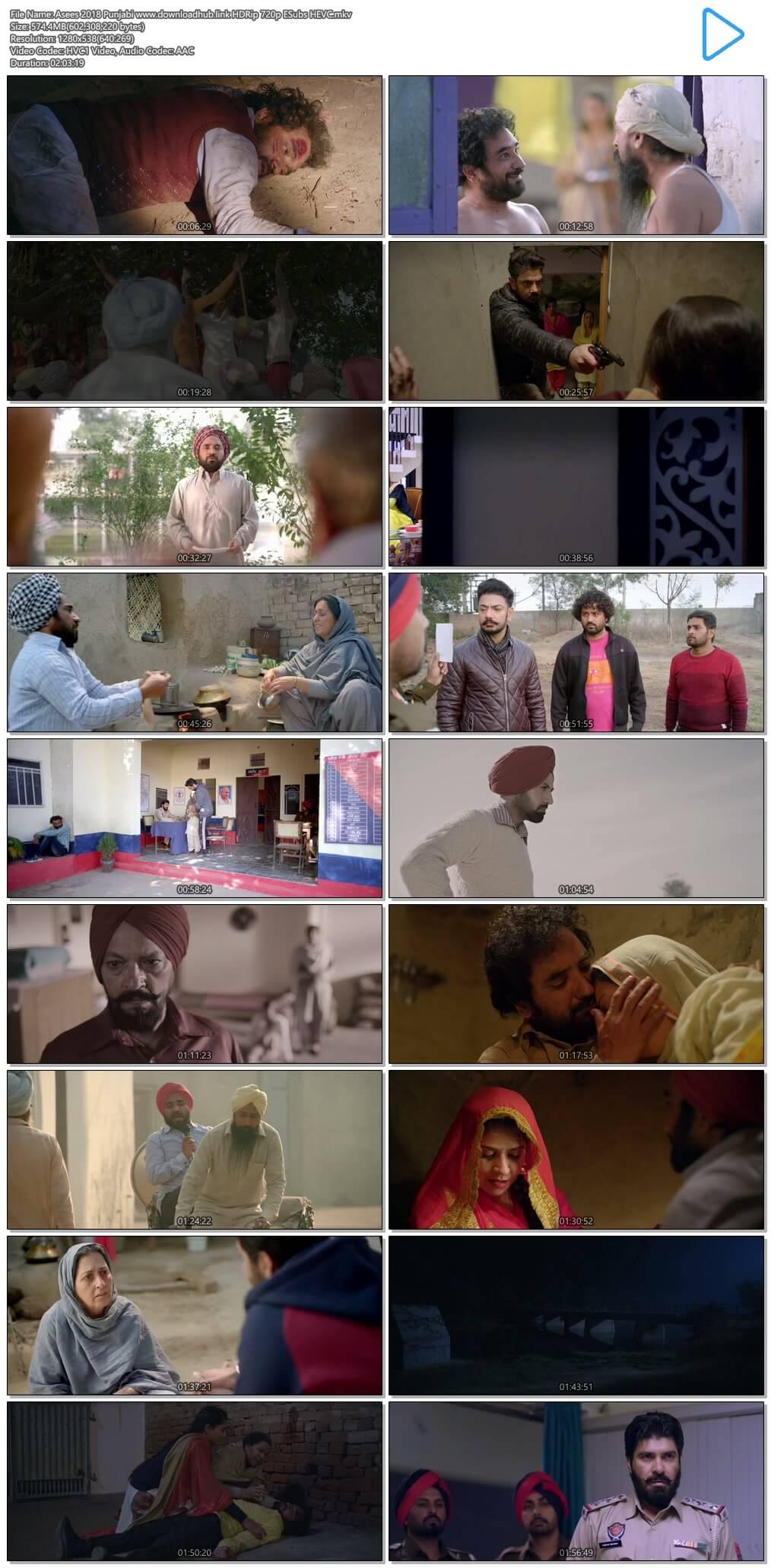 Asees 2018 Punjabi 550MB HDRip 720p ESubs HEVC