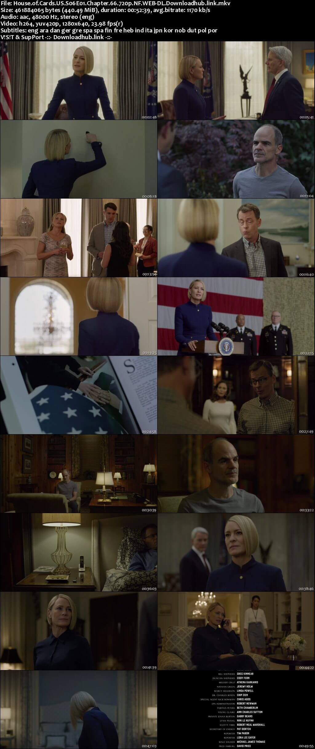 House of Cards S06 Complete 720p NF Web-DL MSubs