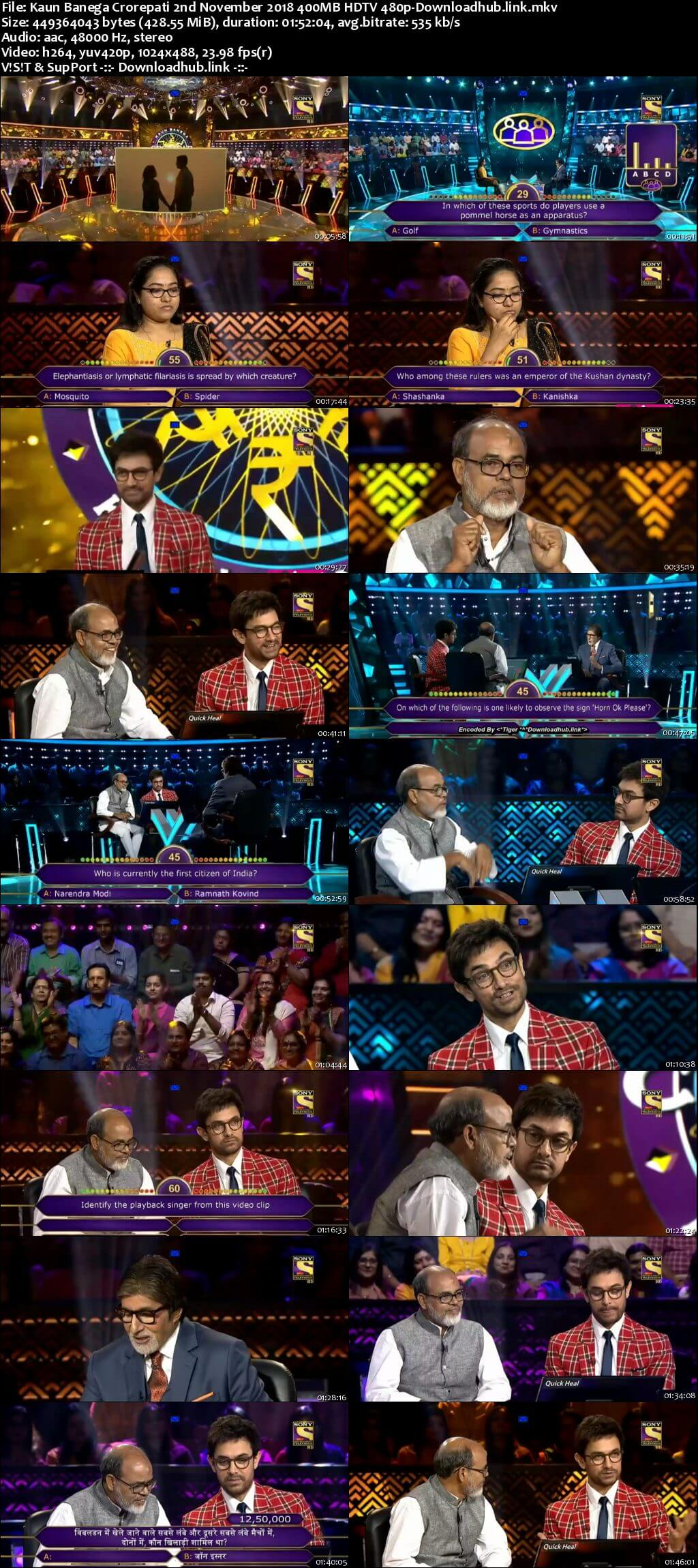 Kaun Banega Crorepati 2nd November 2018 400MB HDTV 480p
