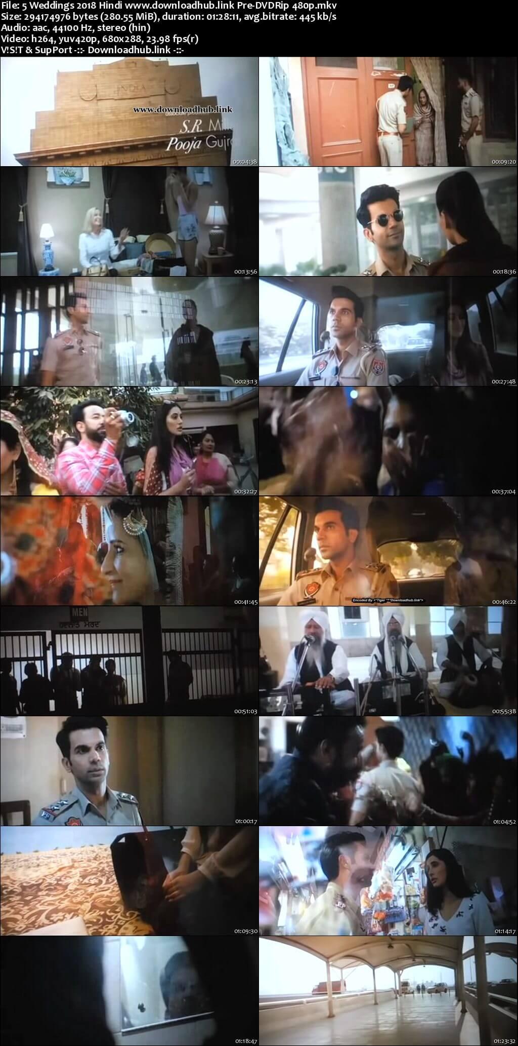 5 Weddings 2018 Hindi 280MB Pre-DVDRip 480p