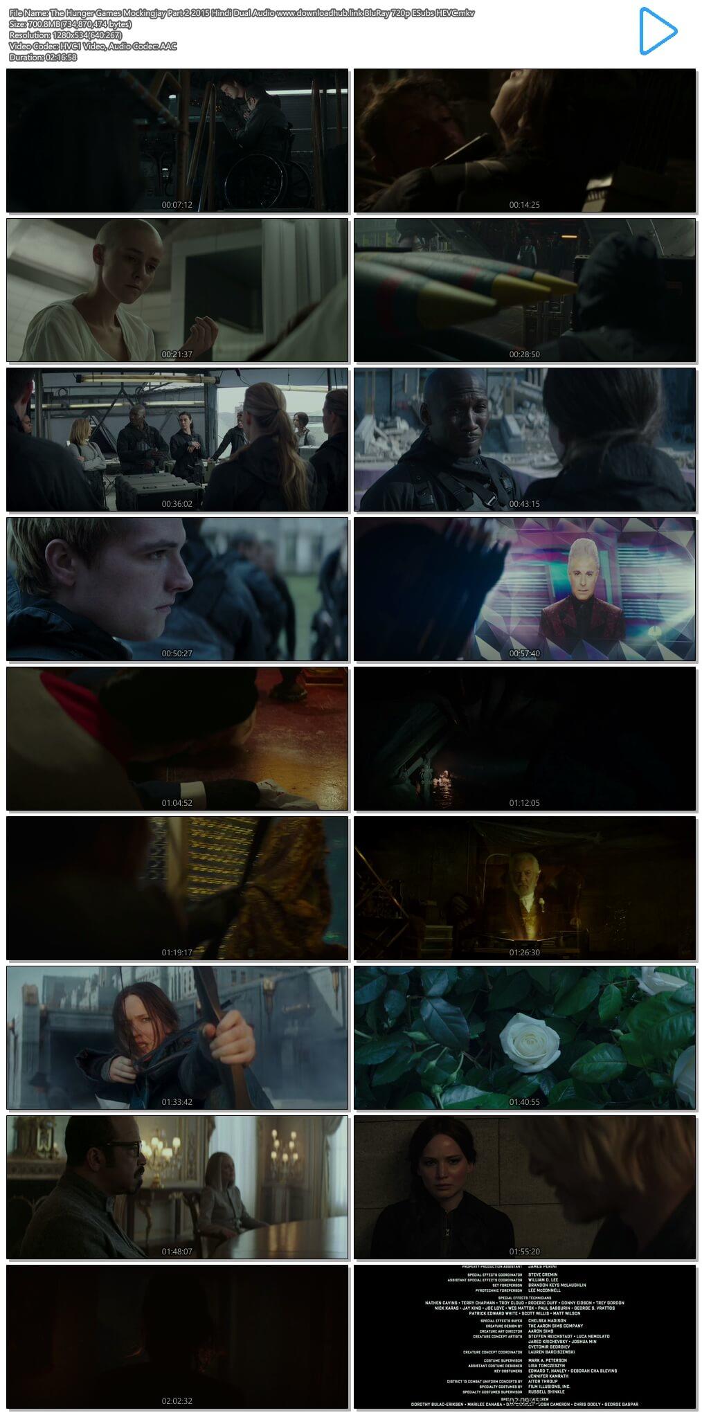 The Hunger Games Mockingjay Part 2 2015 Hindi Dual Audio 700MB BluRay 720p ESubs HEVC