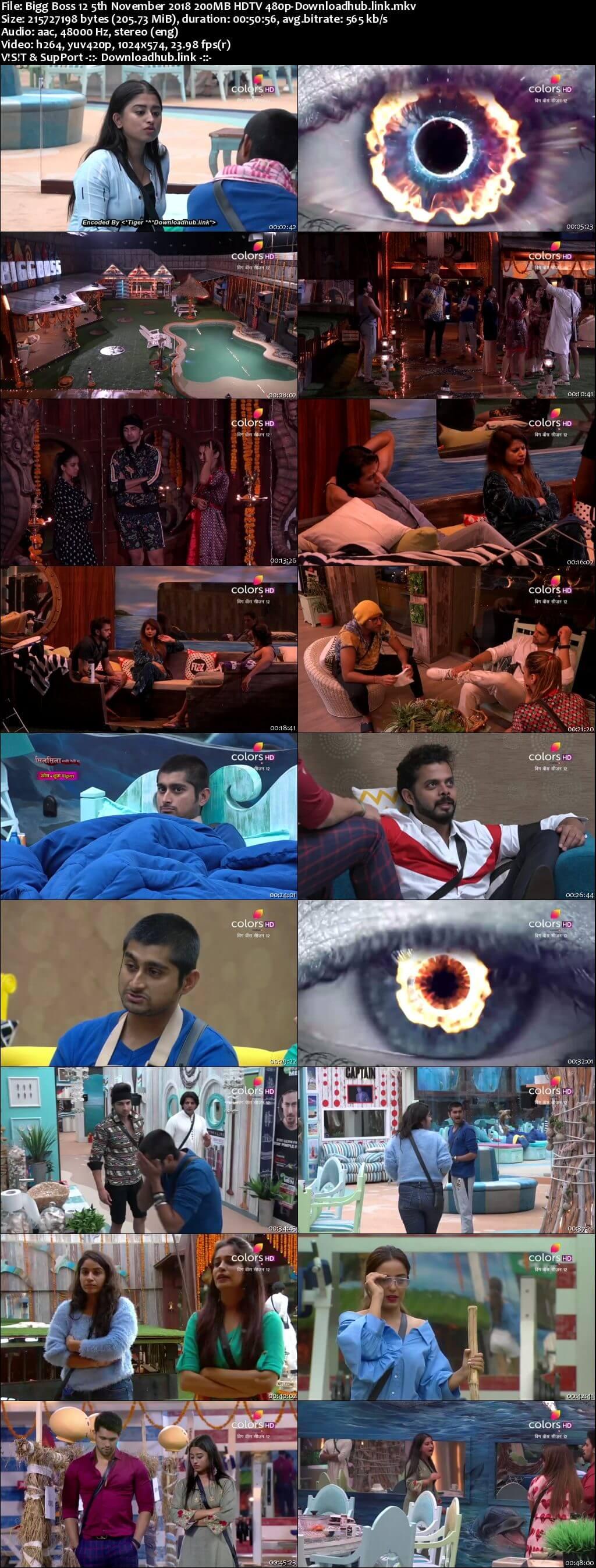 Bigg Boss 12 05 November 2018 Episode 50 HDTV 480p