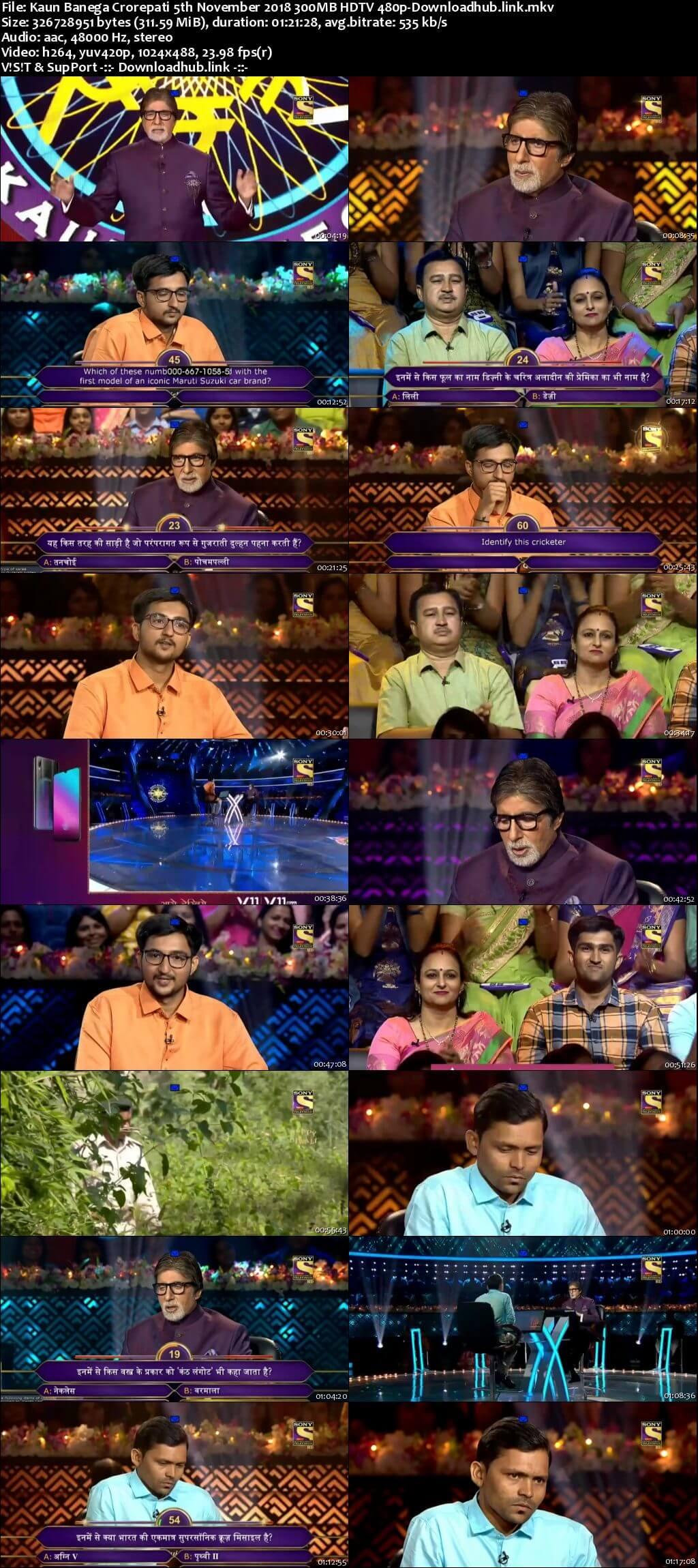 Kaun Banega Crorepati 5th November 2018 300MB HDTV 480p