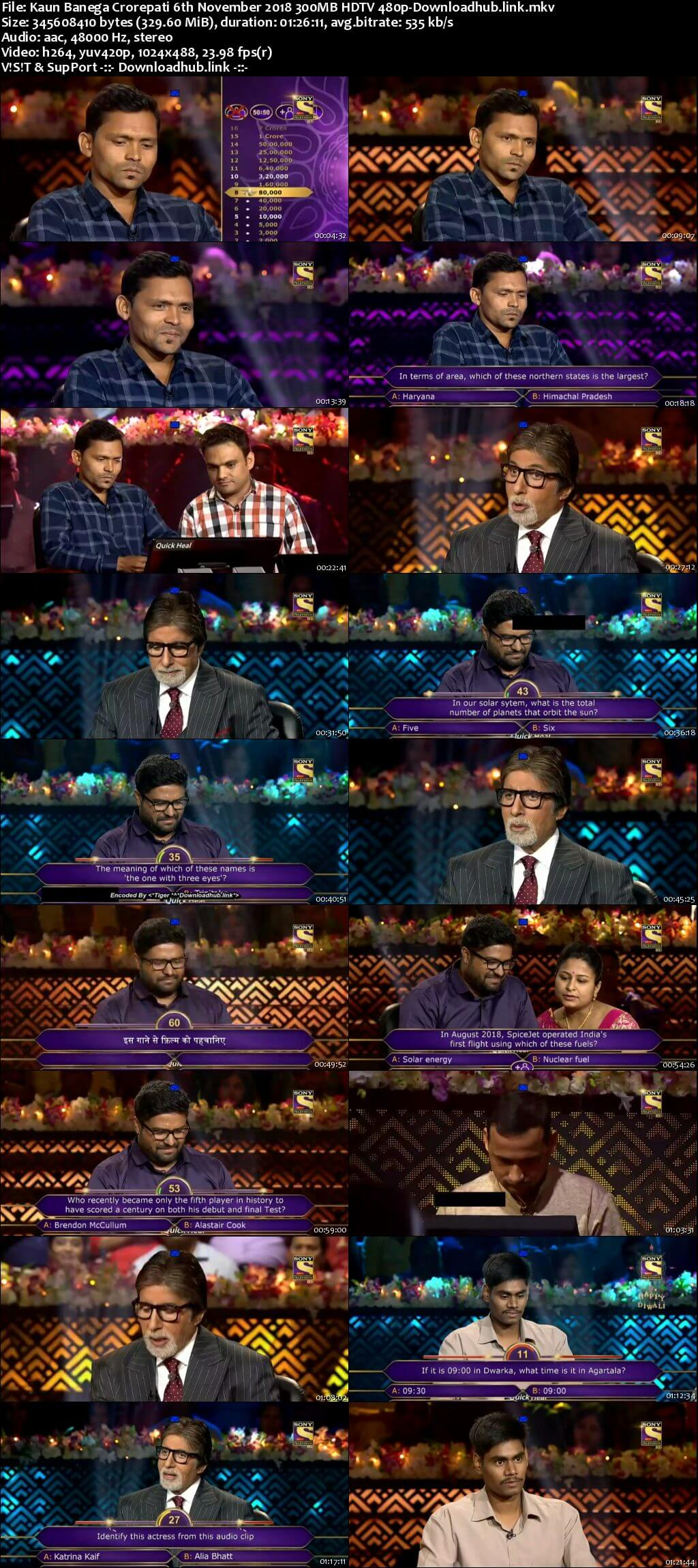 Kaun Banega Crorepati 6th November 2018 300MB HDTV 480p