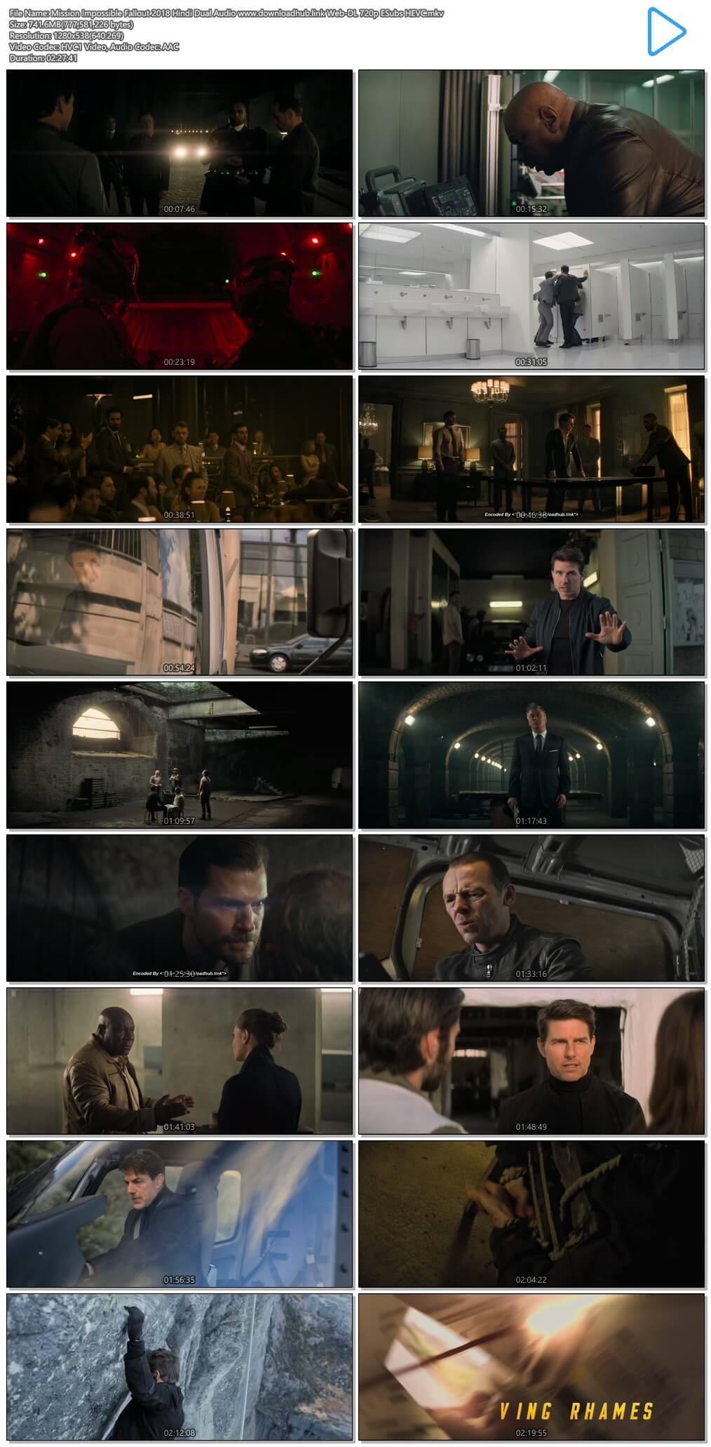 Mission Impossible Fallout 2018 Hindi Dual Audio 750MB Web-DL 720p ESubs HEVC