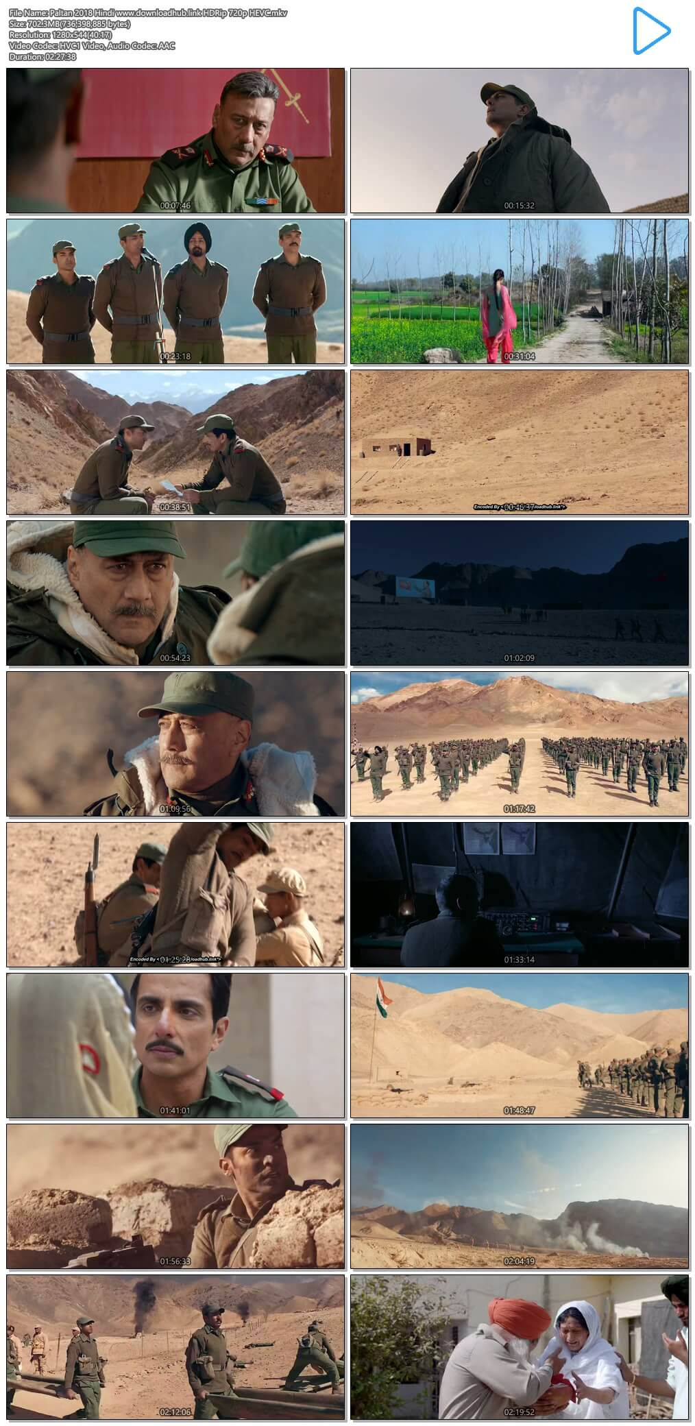 Paltan 2018 Hindi 700MB HDRip 720p HEVC