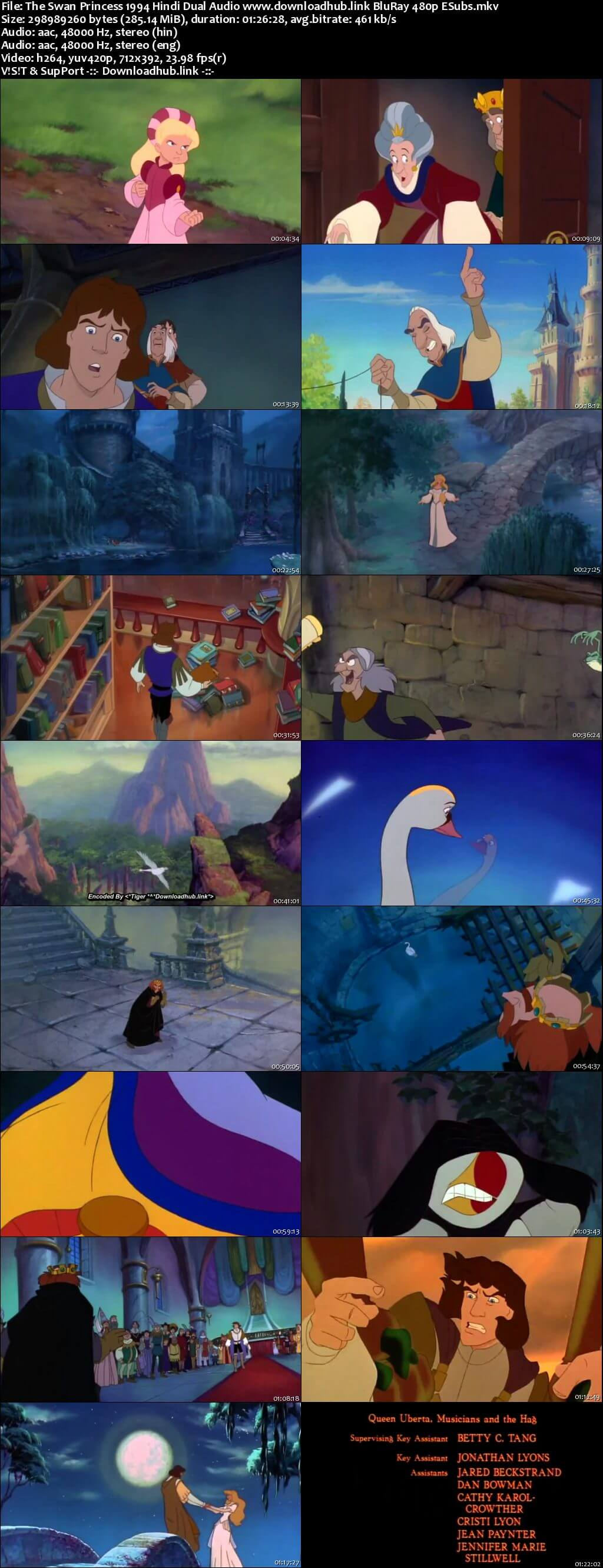 The Swan Princess 1994 Hindi Dual Audio 280MB BluRay 480p ESubs