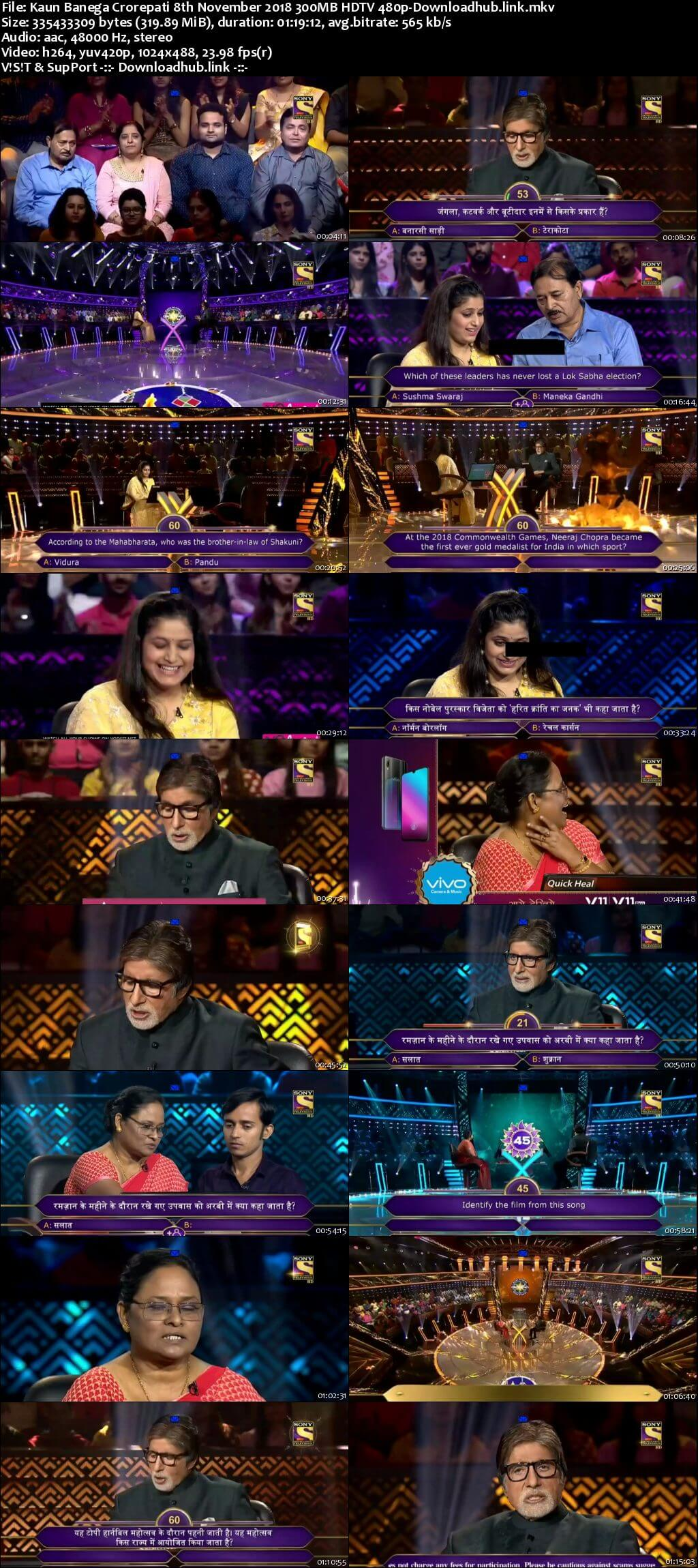 Kaun Banega Crorepati 8th November 2018 300MB HDTV 480p