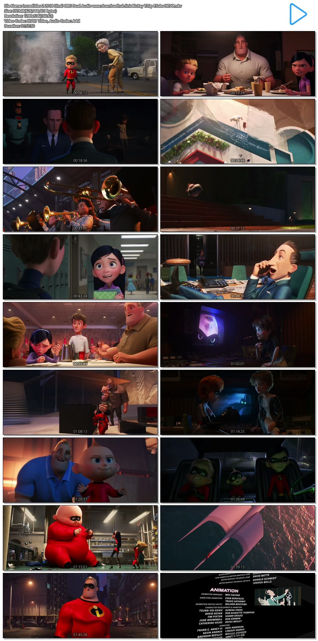 Incredibles 2 2018 Hindi ORG Dual Audio 600MB BluRay 720p ESubs HEVC