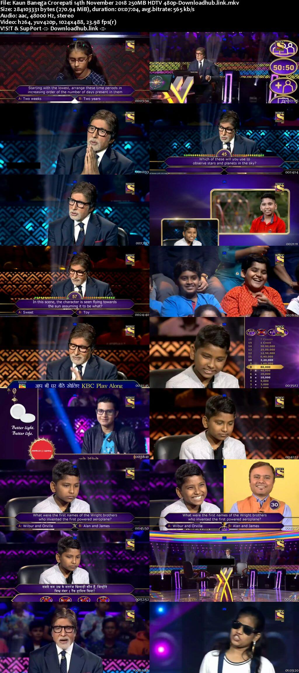 Kaun Banega Crorepati 14th November 2018 250MB HDTV 480p
