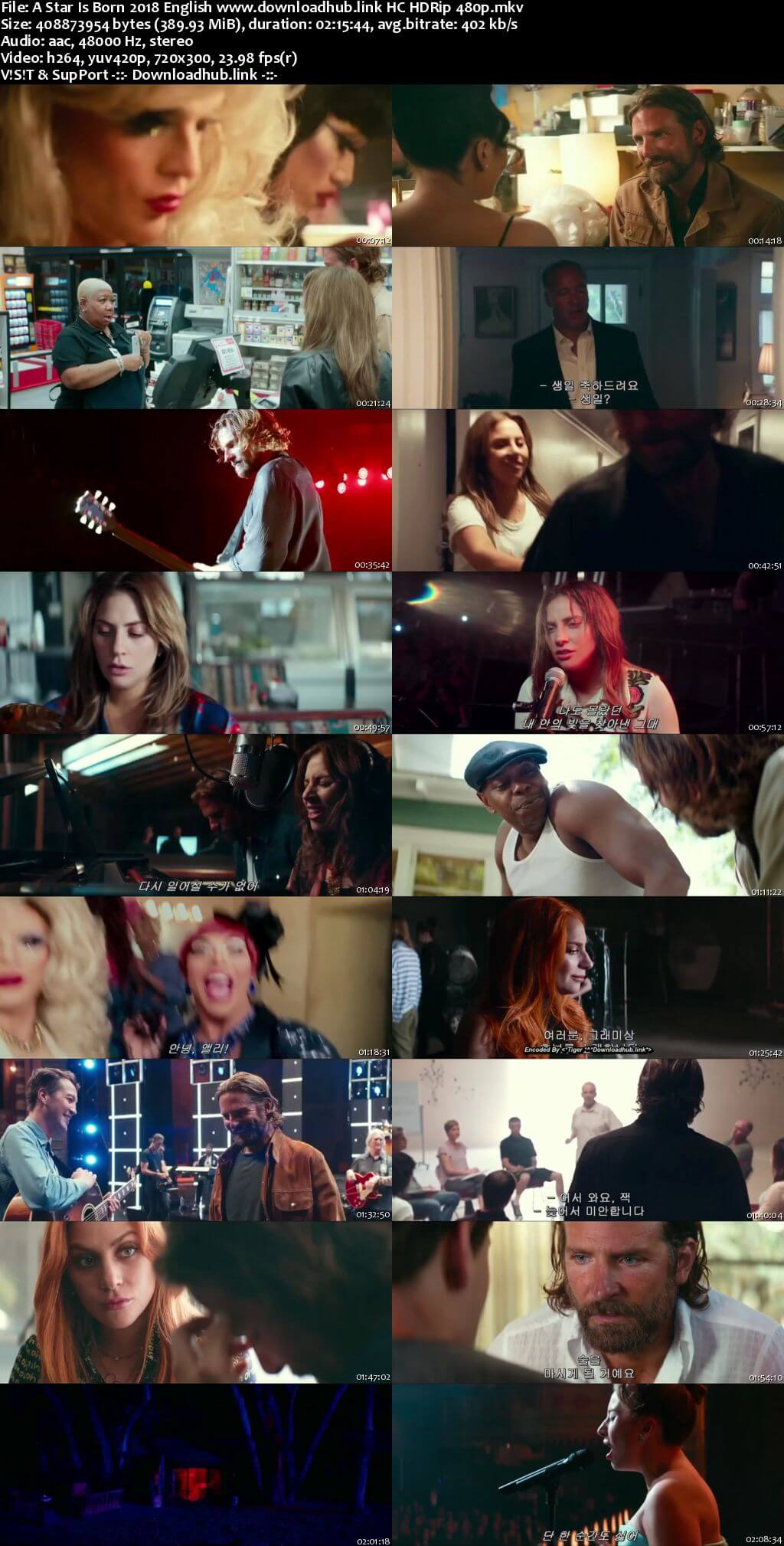 A Star Is Born 2018 English 350MB HC HDRip 480p