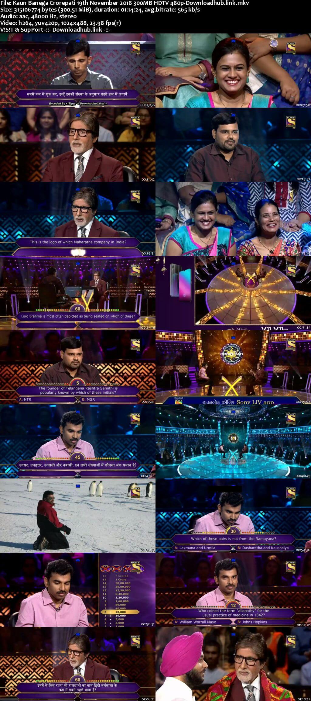 Kaun Banega Crorepati 19th November 2018 300MB HDTV 480p