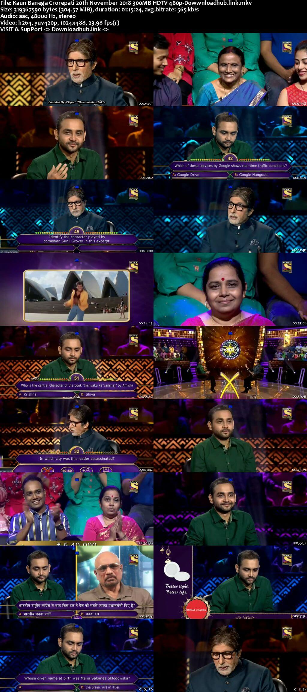 Kaun Banega Crorepati 20th November 2018 300MB HDTV 480p