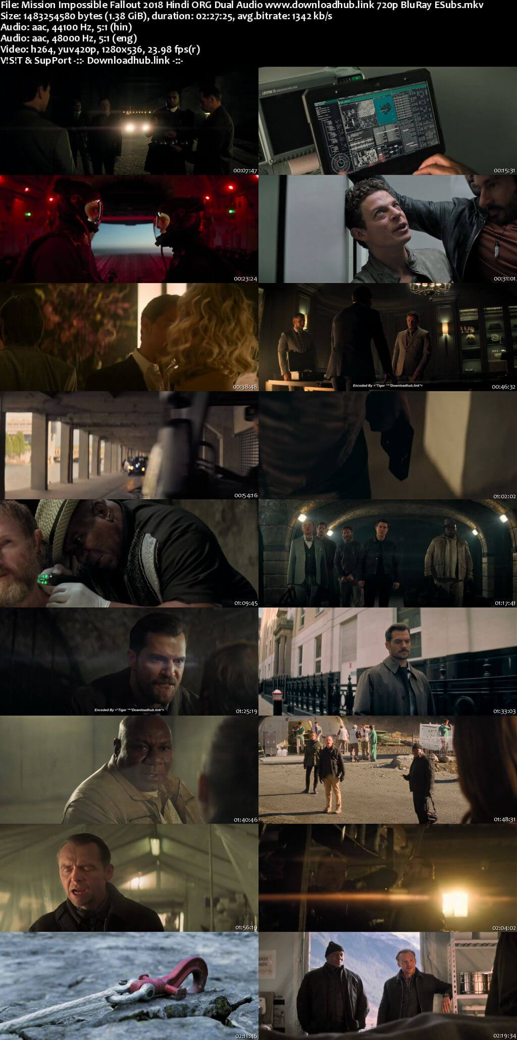 Mission Impossible Fallout 2018 Hindi ORG Dual Audio 720p BluRay ESubs