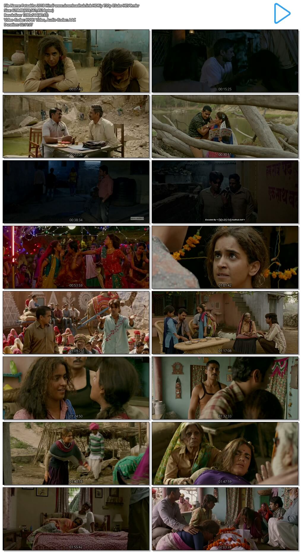 Pataakha 2018 Hindi 600MB HDRip 720p ESubs HEVC