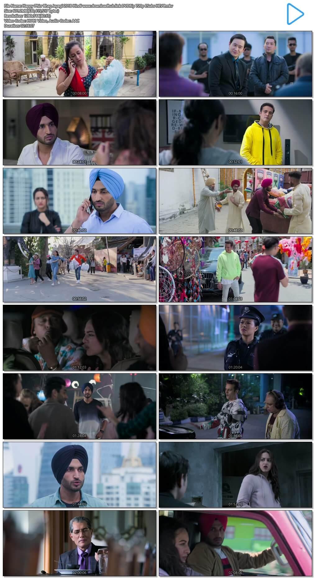 Happy Phirr Bhag Jayegi 2018 Hindi 600MB DVDRip 720p ESubs HEVC