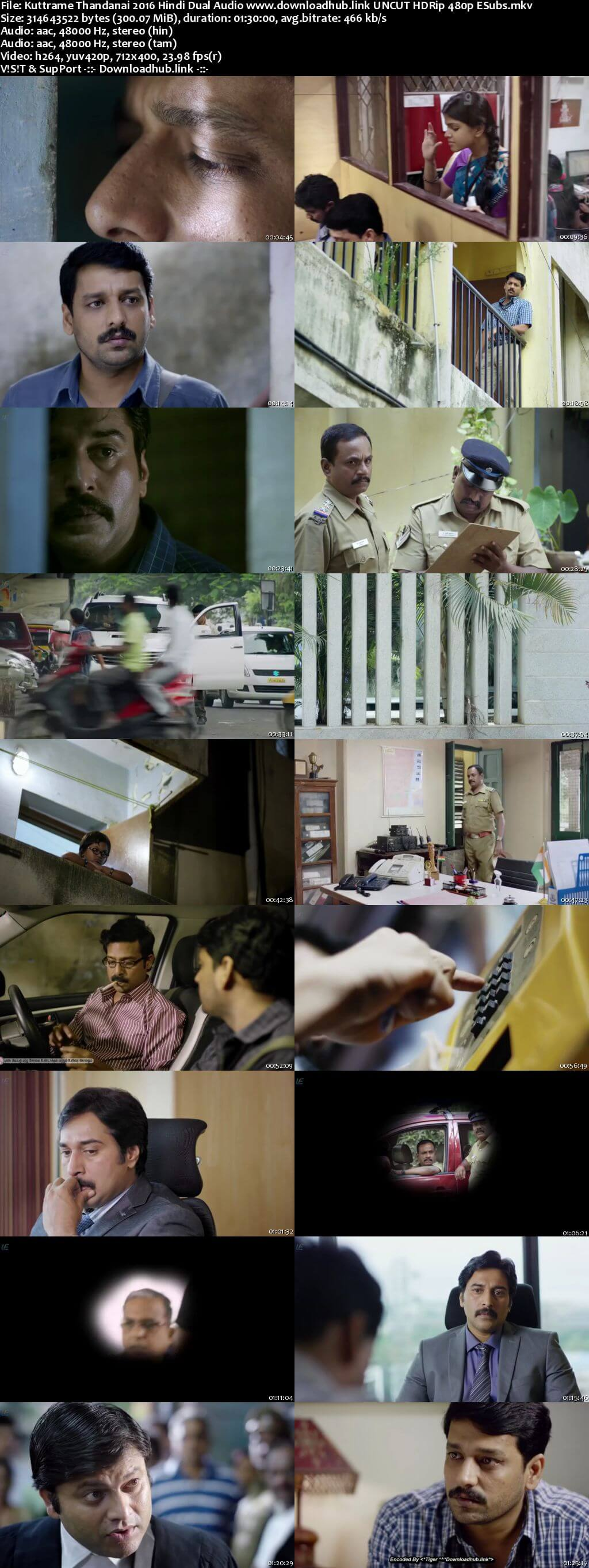 Kuttrame Thandanai 2016 Hindi Dual Audio 300MB UNCUT HDRip 480p ESubs