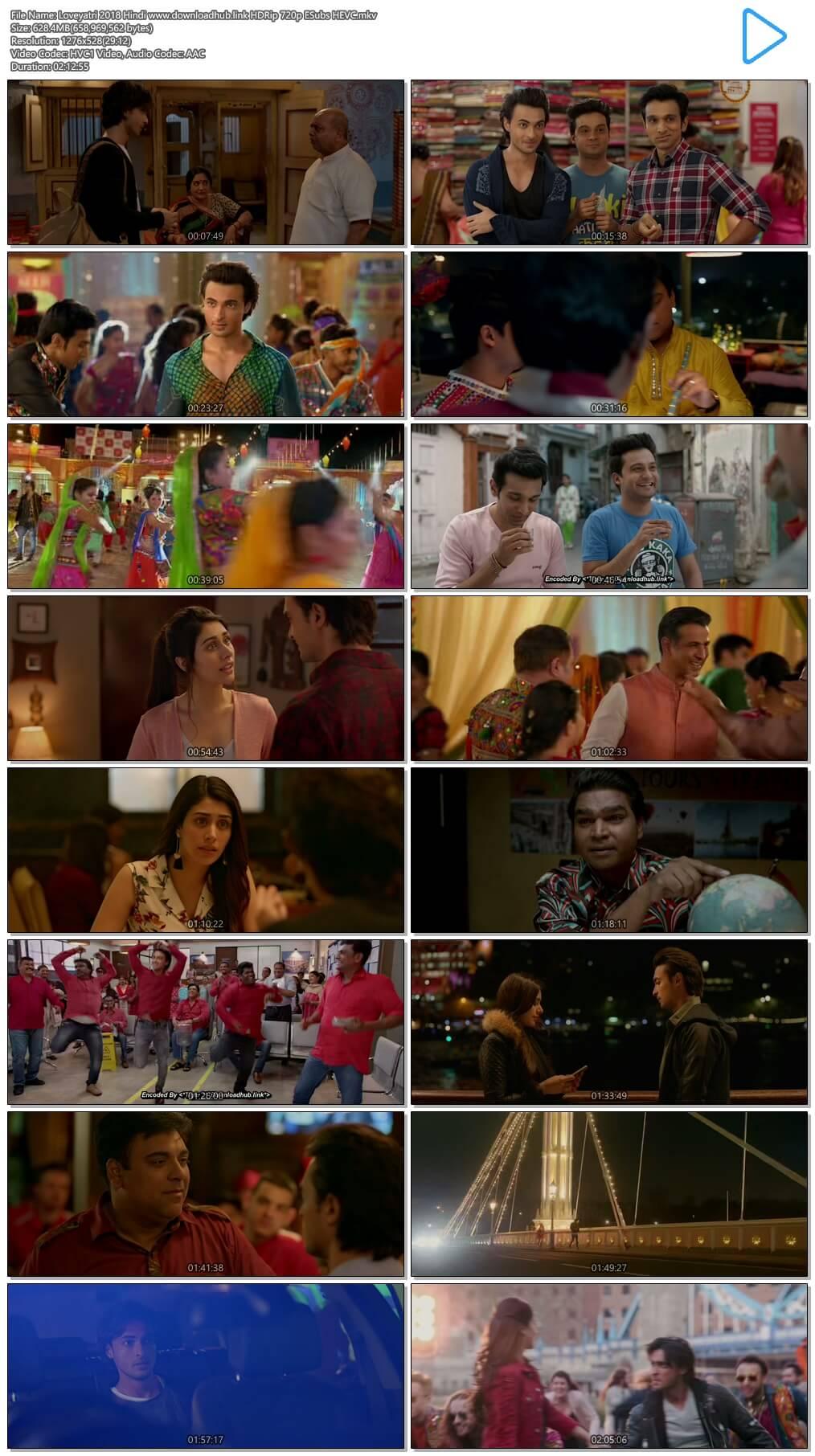 Loveyatri 2018 Hindi 600MB HDRip 720p ESubs HEVC