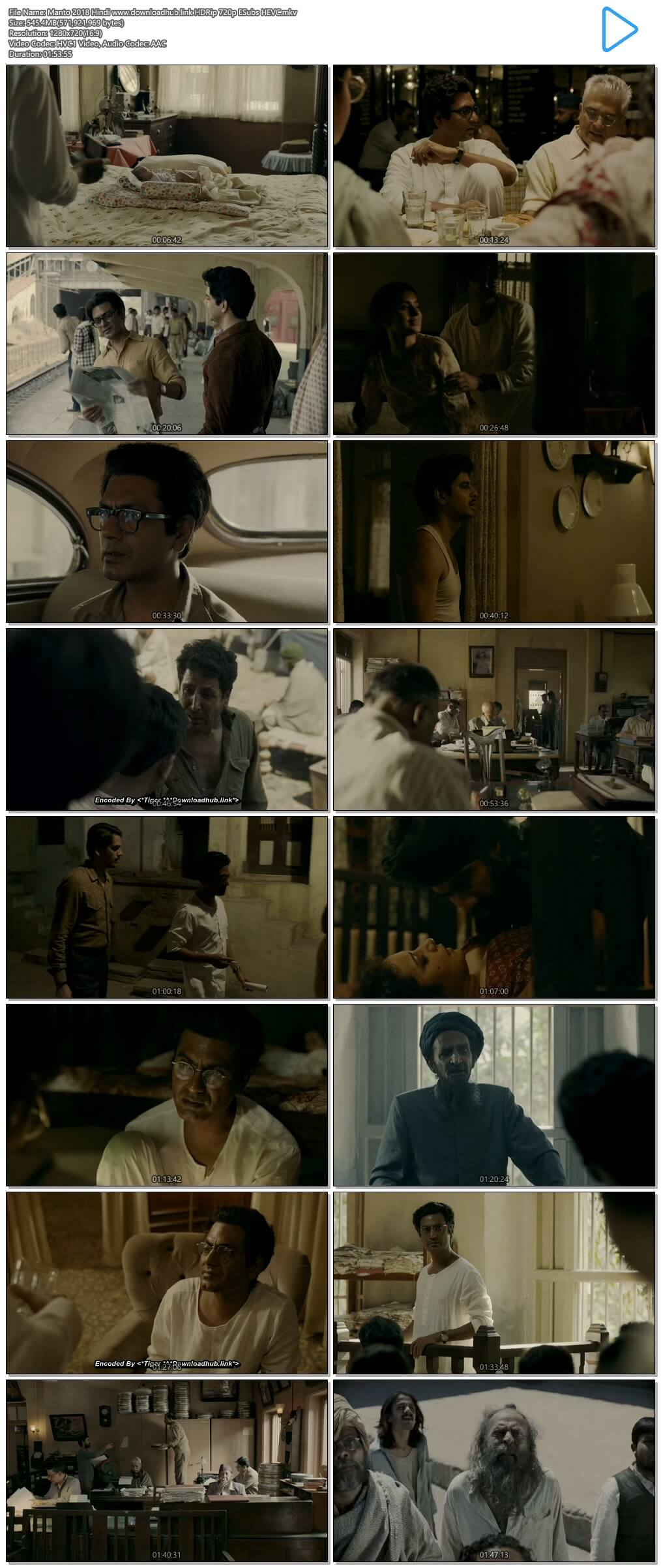 Manto 2018 Hindi 550MB HDRip 720p ESubs HEVC