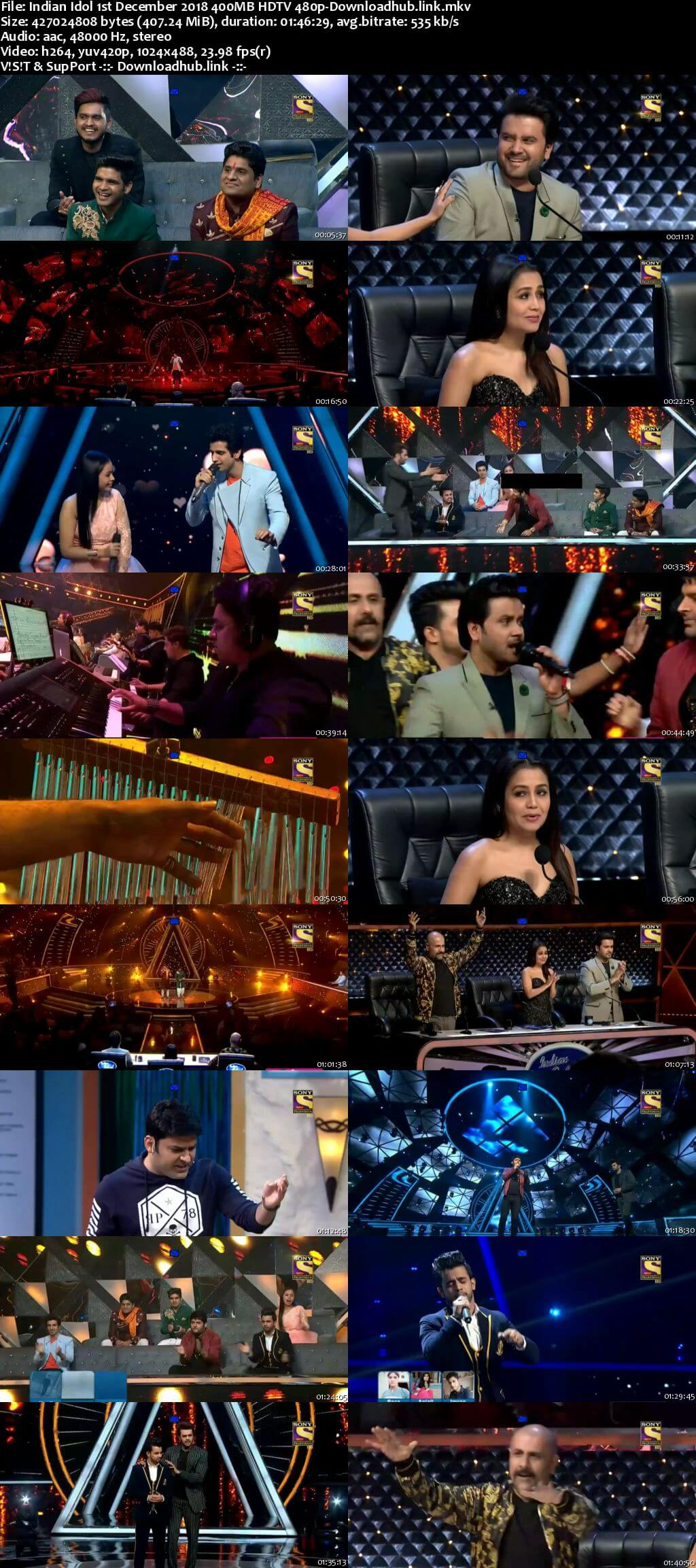 Indian Idol 01 December 2018 Episode 43 HDTV 480p