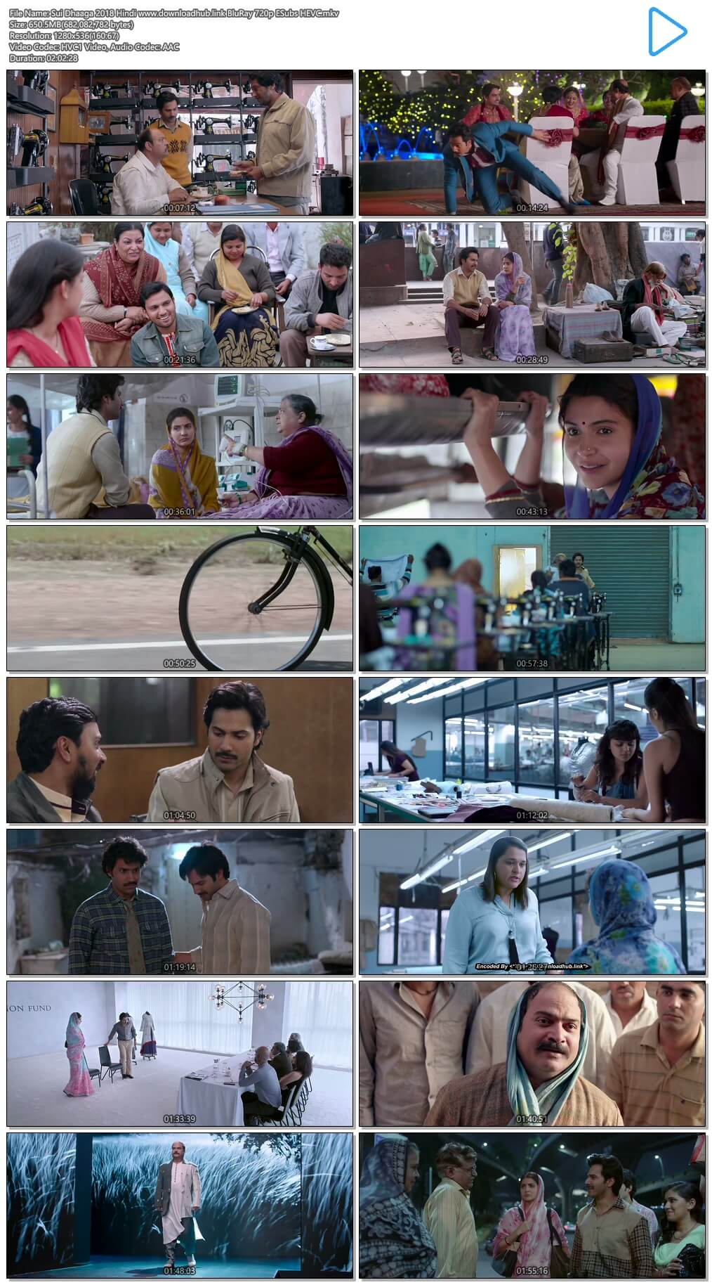 Sui Dhaaga 2018 Hindi 650MB BluRay 720p ESubs HEVC