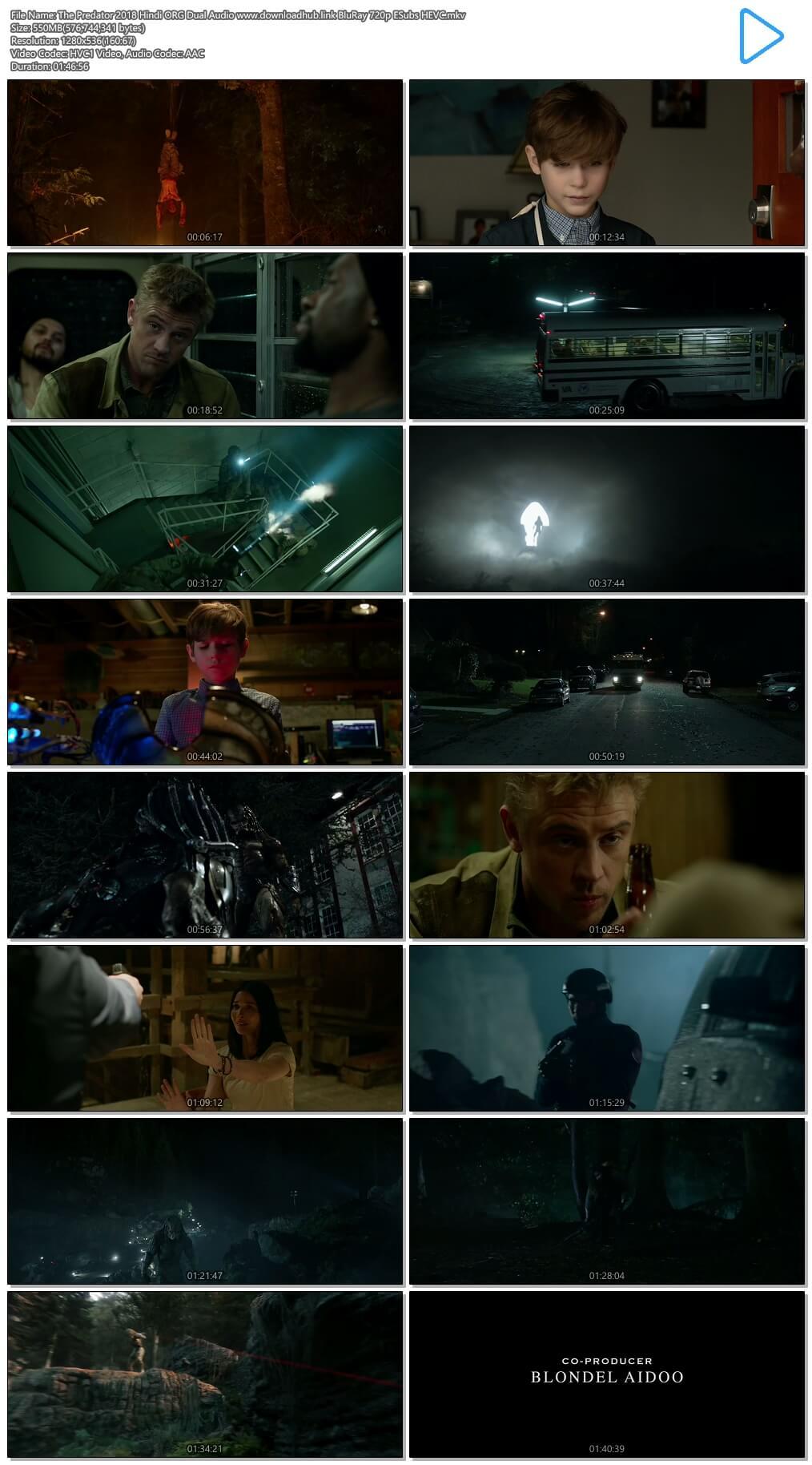 The Predator 2018 Hindi ORG Dual Audio 550MB BluRay 720p ESubs HEVC